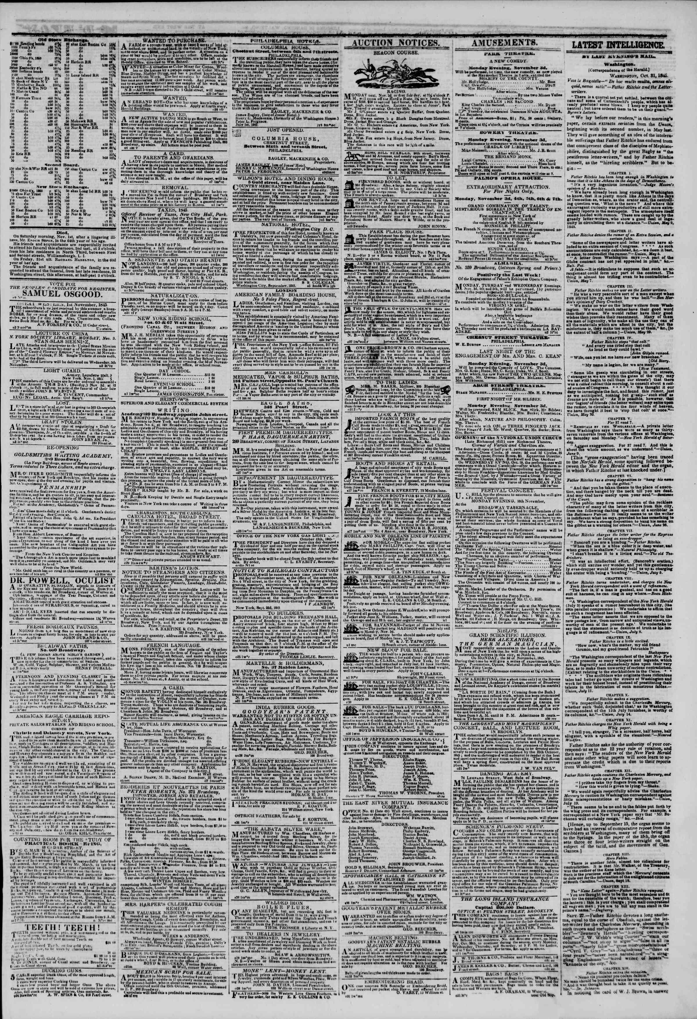November 2, 1845 Tarihli The New York Herald Gazetesi Sayfa 3