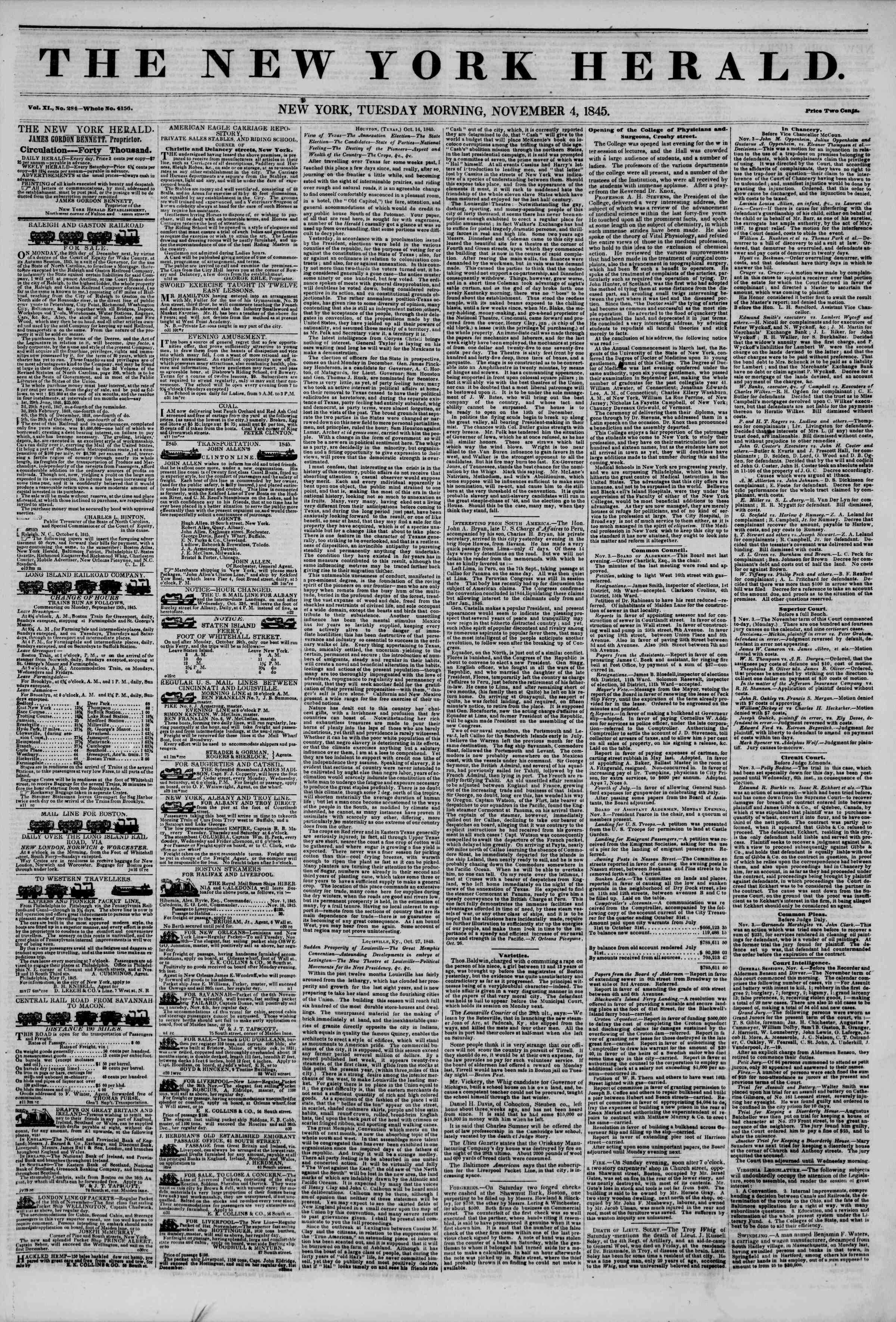 November 4, 1845 Tarihli The New York Herald Gazetesi Sayfa 1