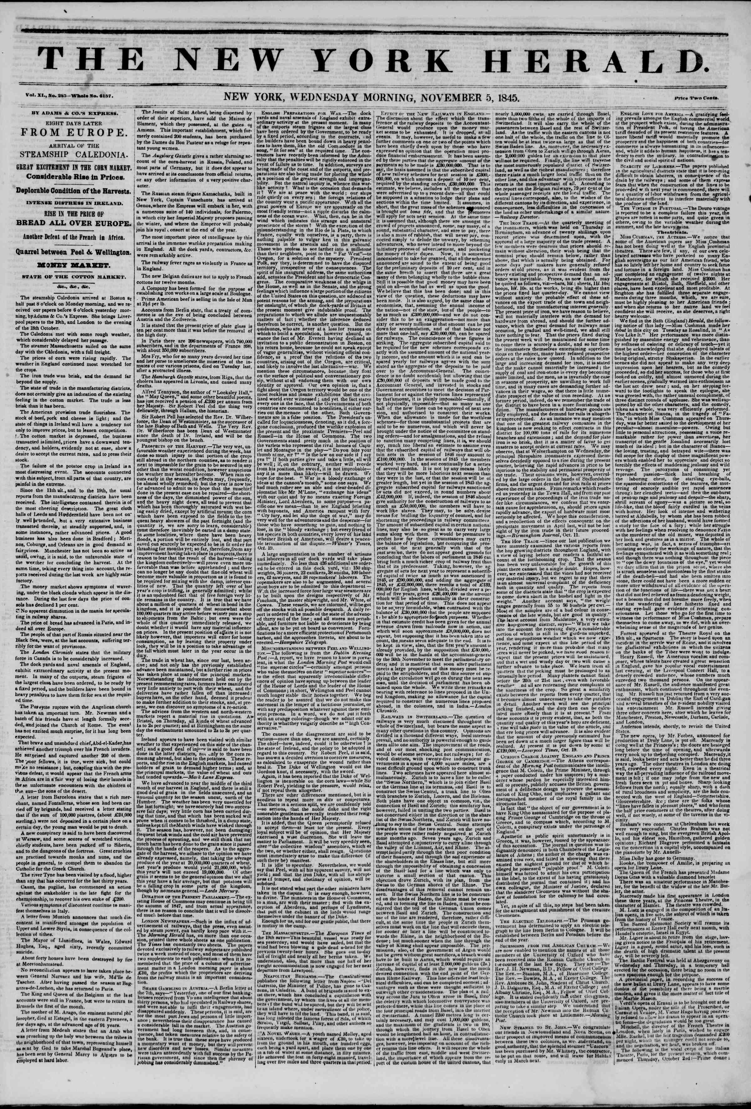 Newspaper of The New York Herald dated November 5, 1845 Page 1