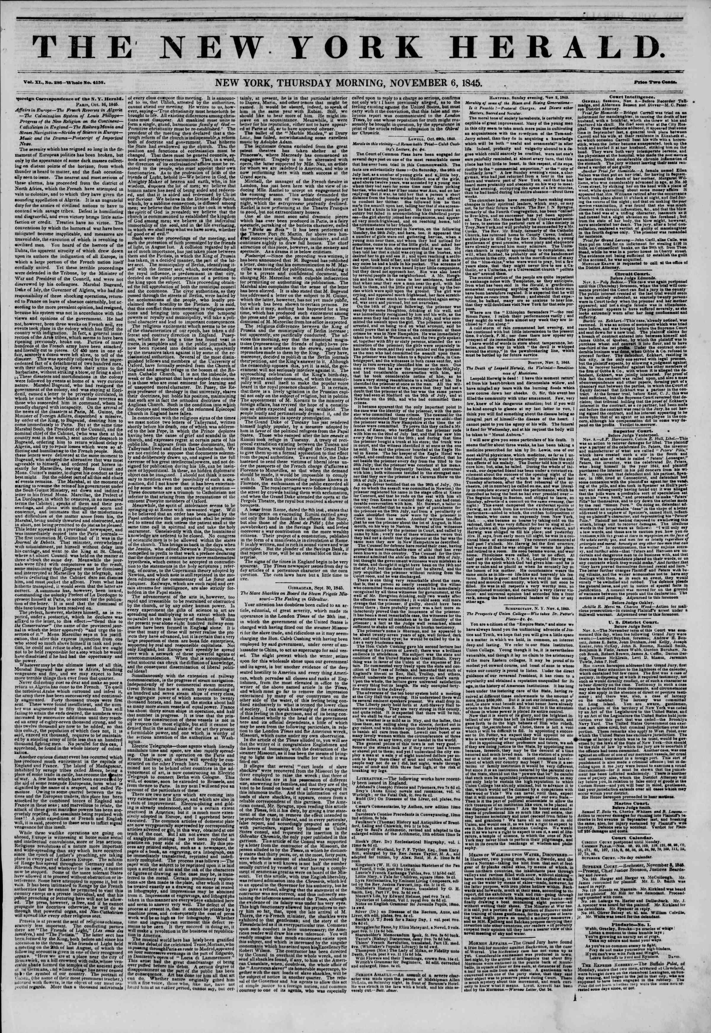 November 6, 1845 Tarihli The New York Herald Gazetesi Sayfa 1