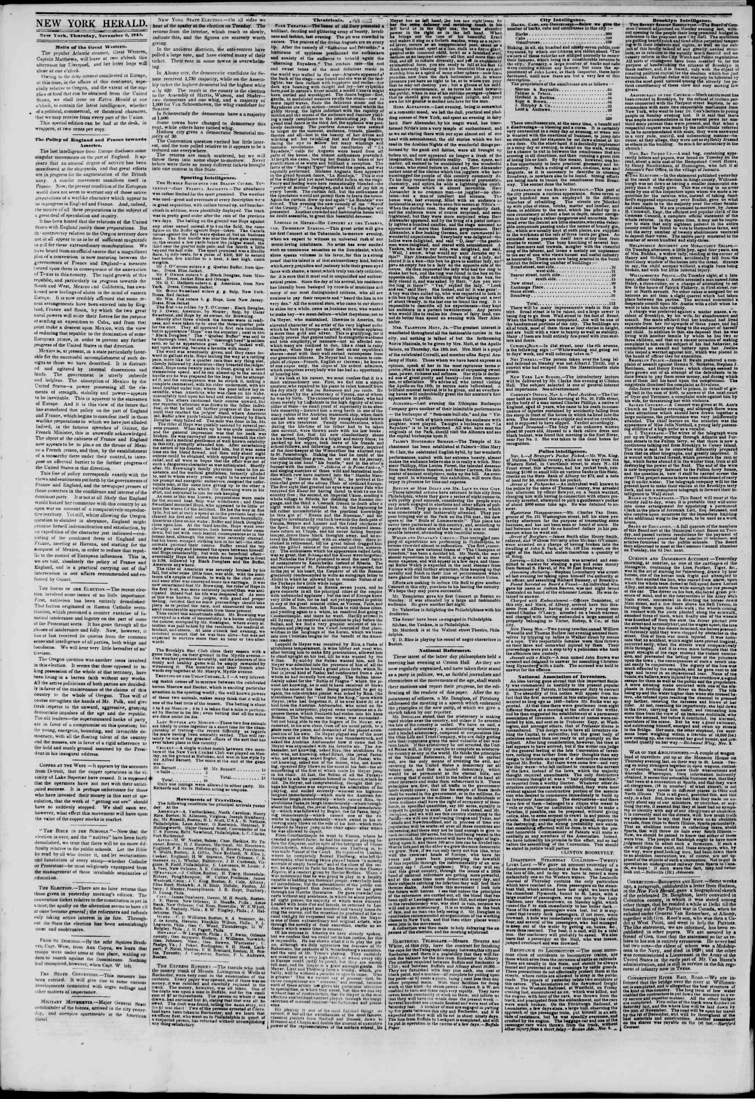 November 6, 1845 Tarihli The New York Herald Gazetesi Sayfa 2