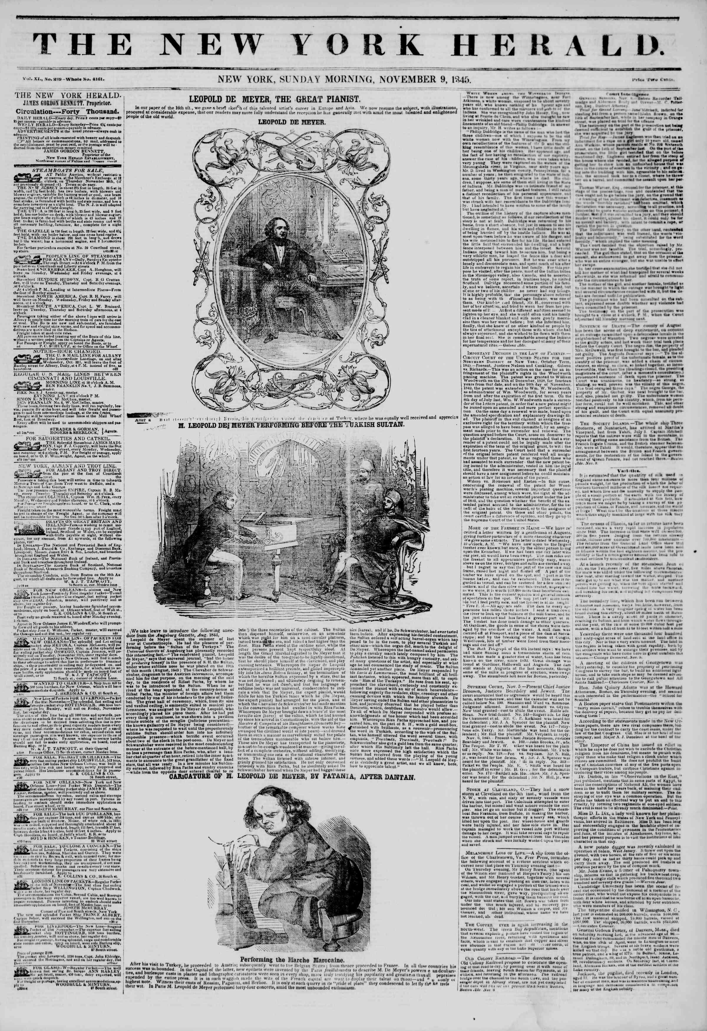 November 9, 1845 Tarihli The New York Herald Gazetesi Sayfa 1