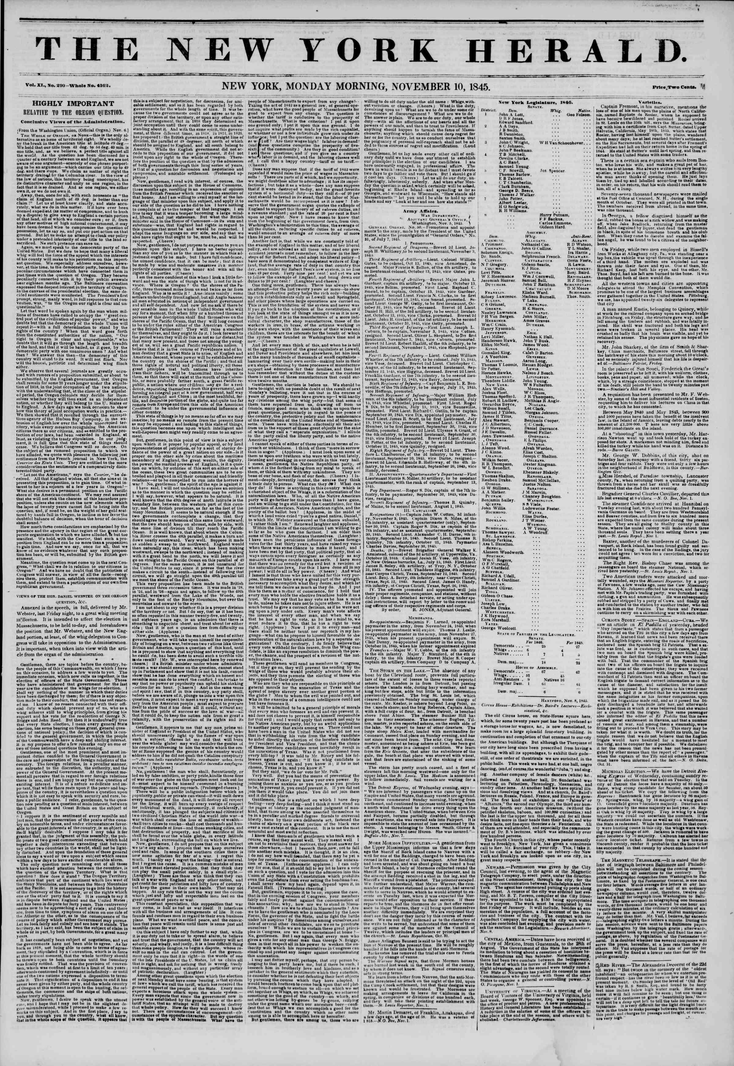November 10, 1845 Tarihli The New York Herald Gazetesi Sayfa 1
