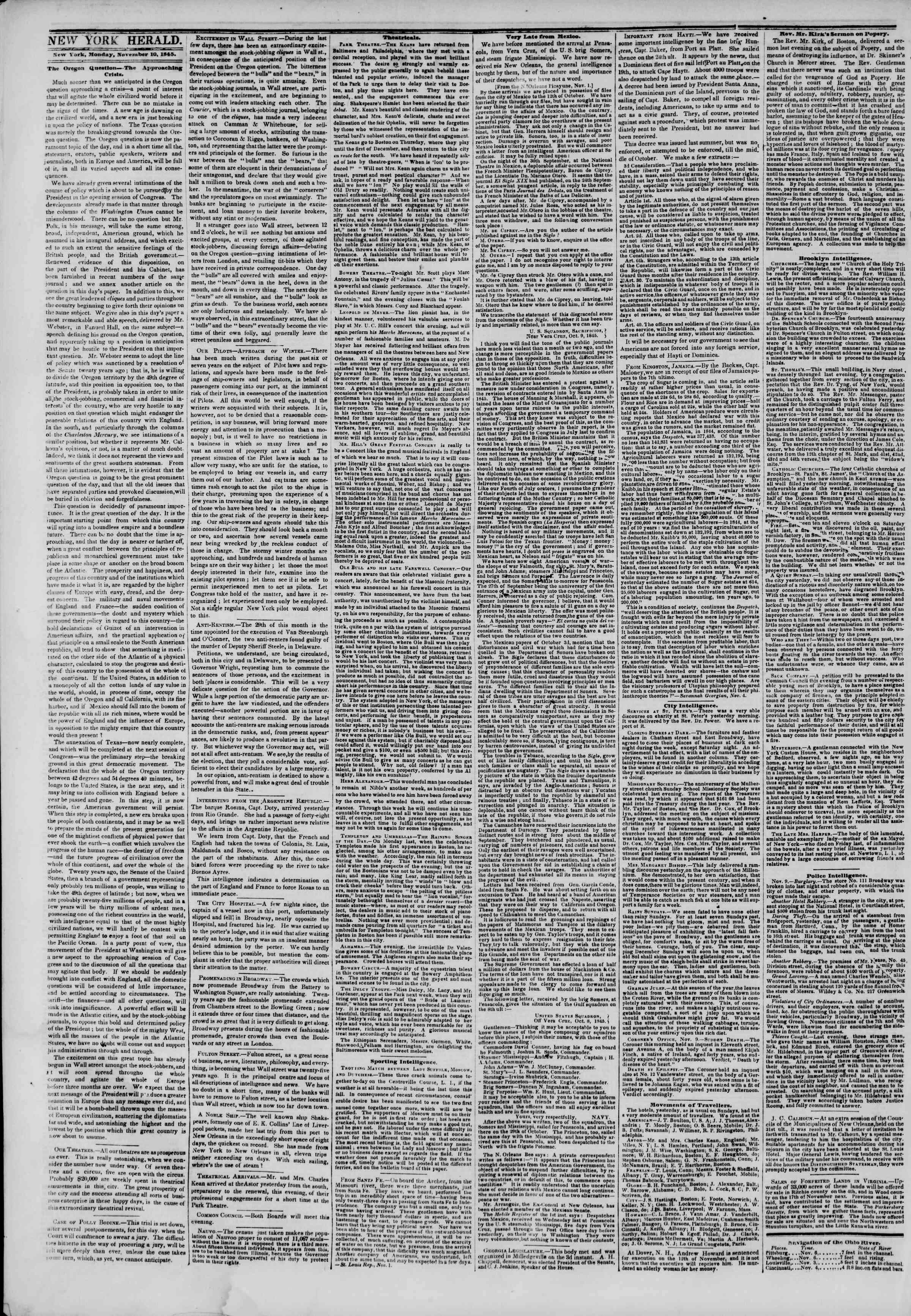 November 10, 1845 Tarihli The New York Herald Gazetesi Sayfa 2