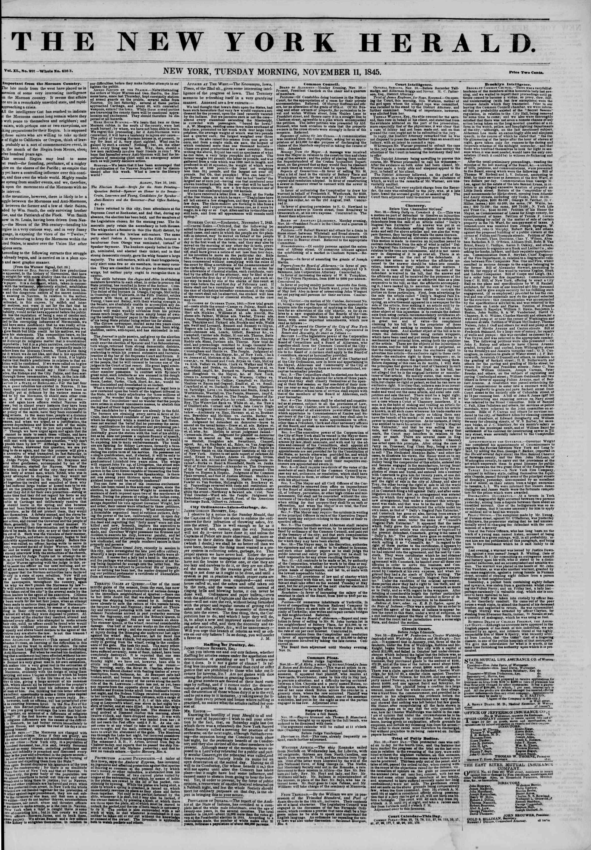 November 11, 1845 Tarihli The New York Herald Gazetesi Sayfa 1
