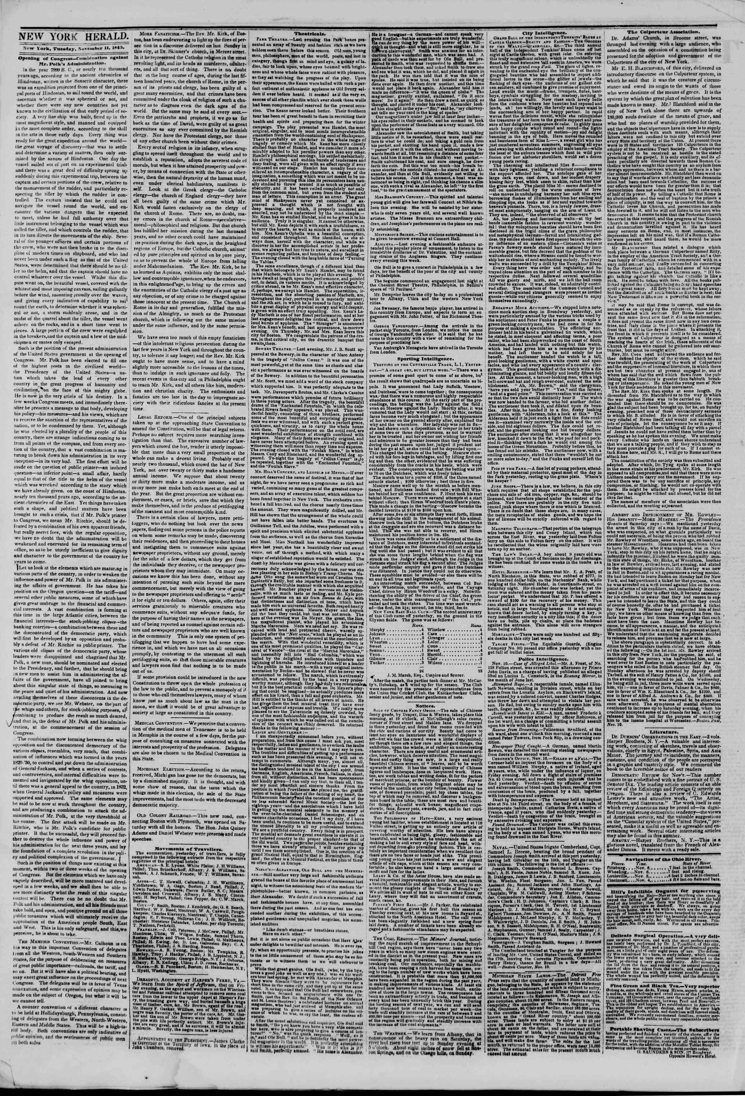 November 11, 1845 Tarihli The New York Herald Gazetesi Sayfa 2
