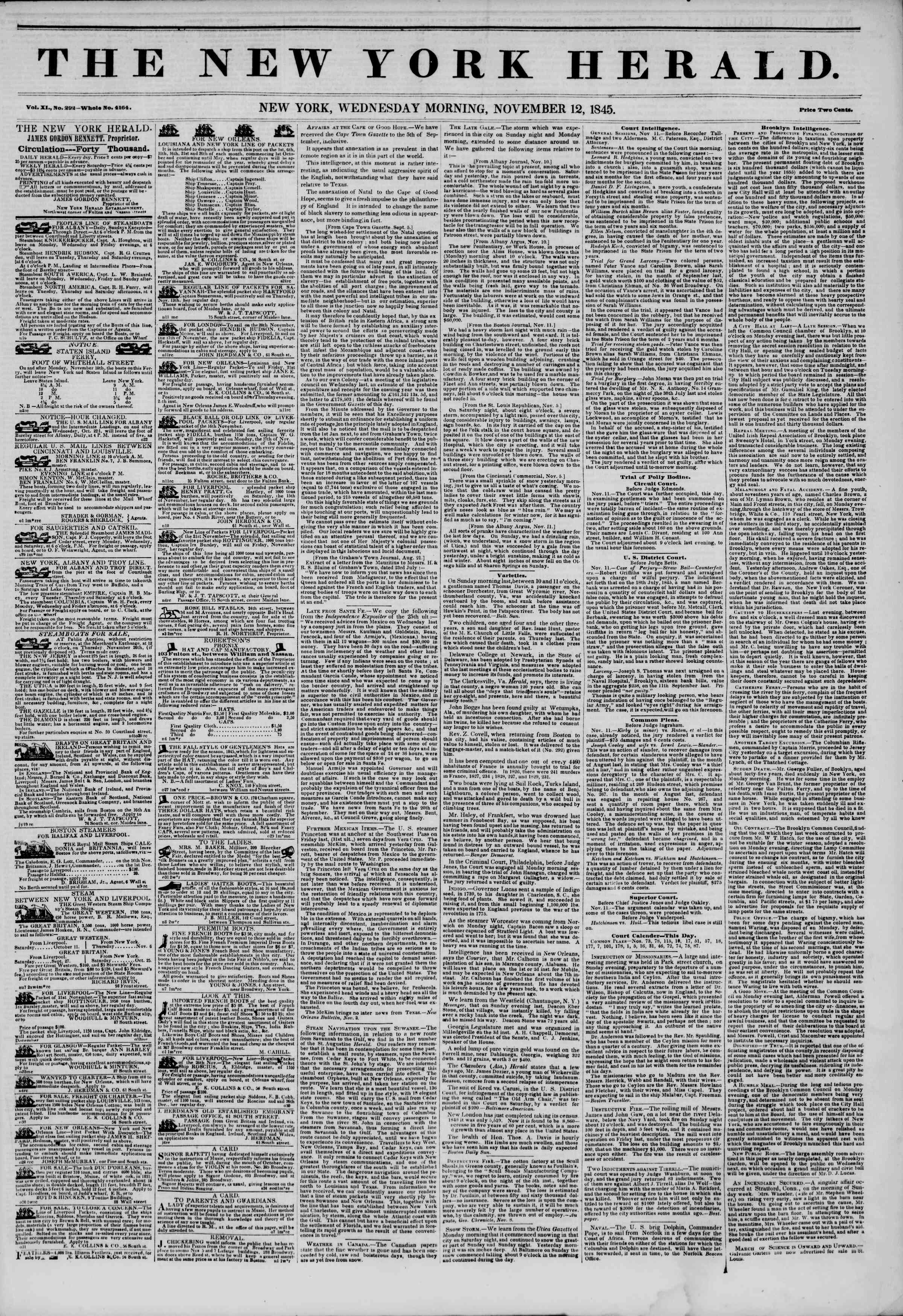 Newspaper of The New York Herald dated November 12, 1845 Page 1