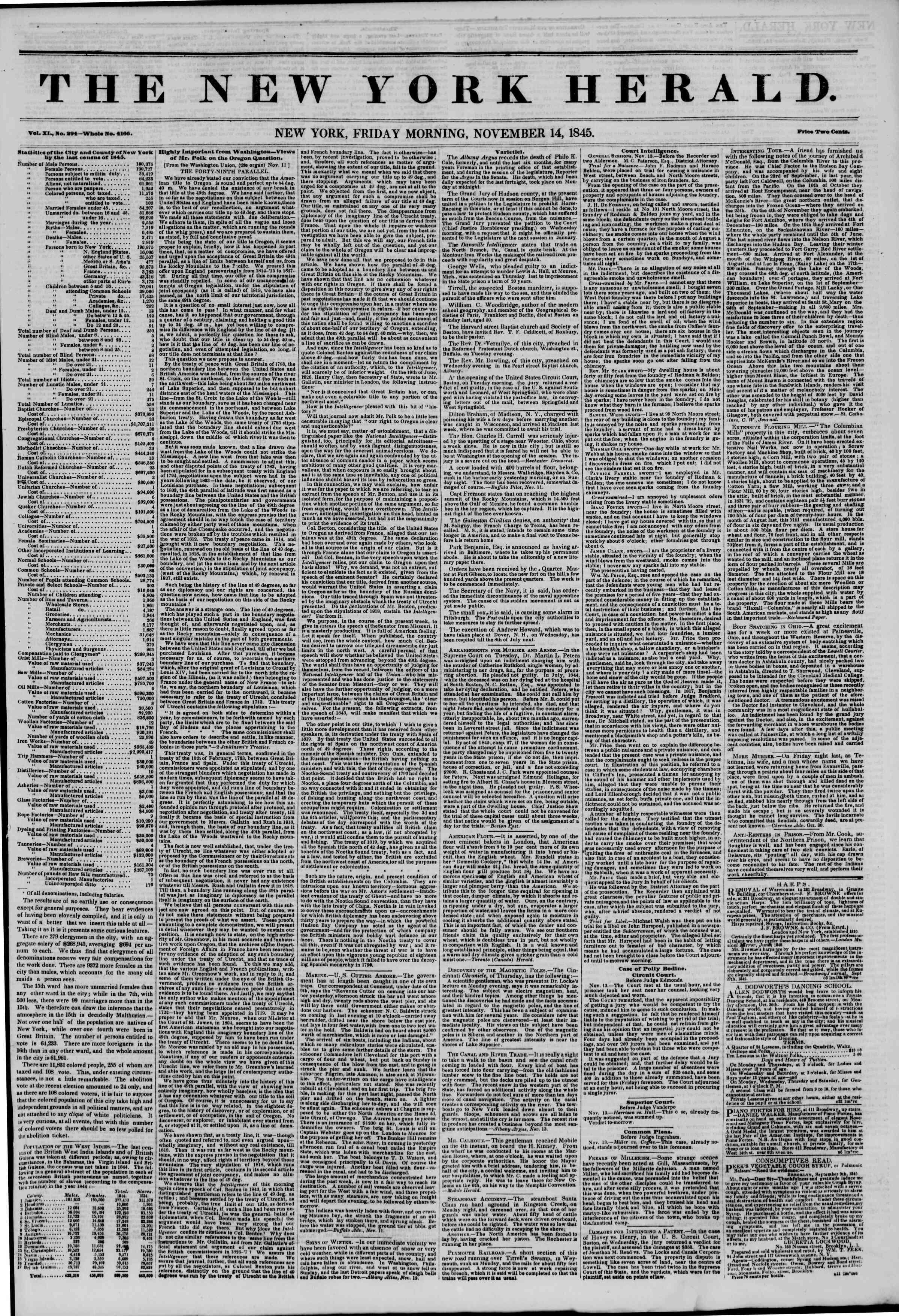 14 Kasım 1845 tarihli The New York Herald Gazetesi Sayfa 1