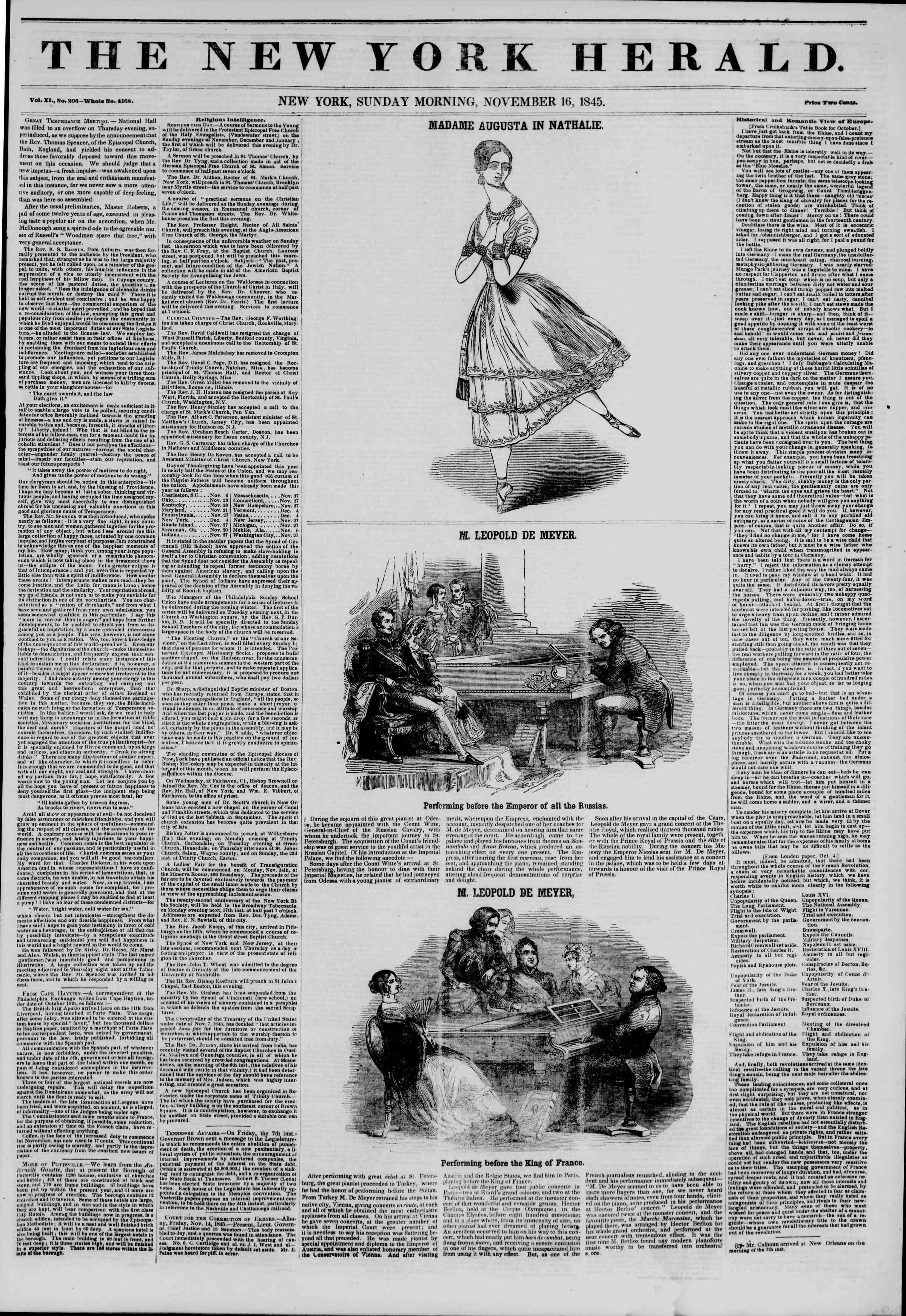 Newspaper of The New York Herald dated November 16, 1845 Page 1