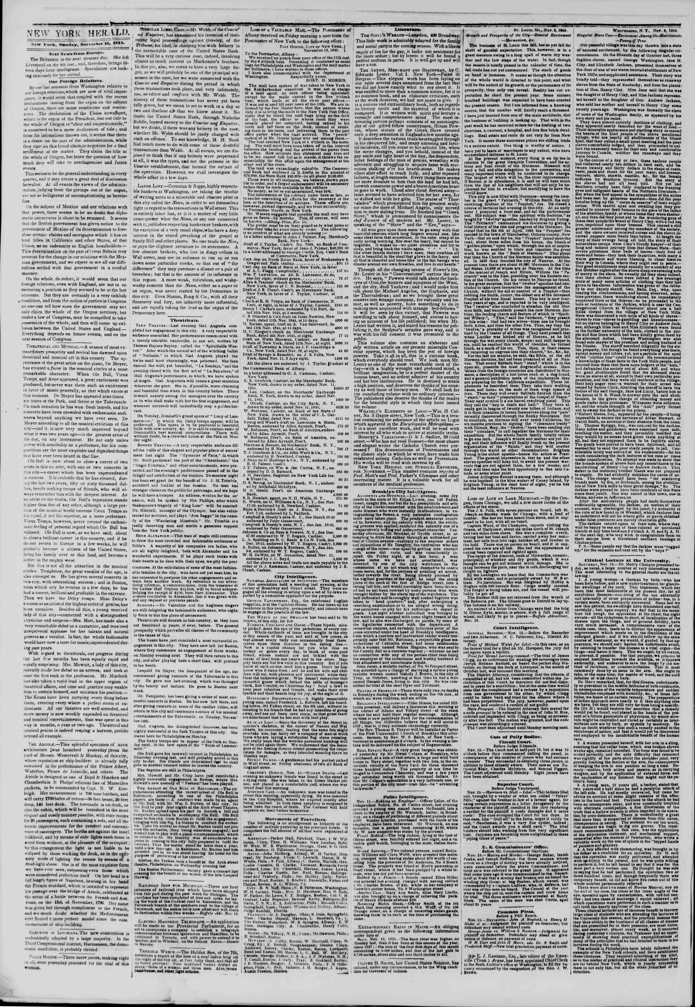 November 16, 1845 Tarihli The New York Herald Gazetesi Sayfa 2