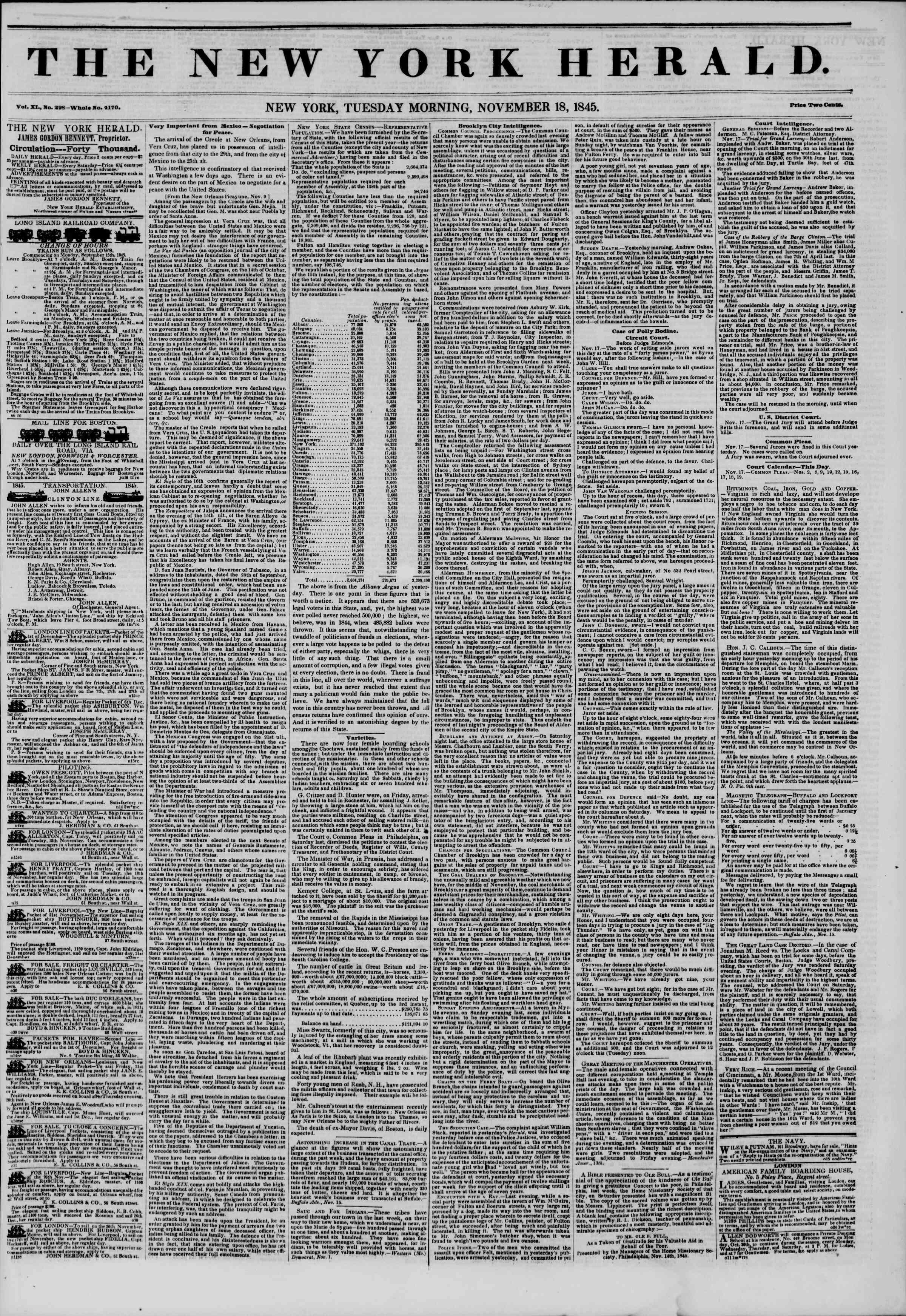 November 18, 1845 Tarihli The New York Herald Gazetesi Sayfa 1
