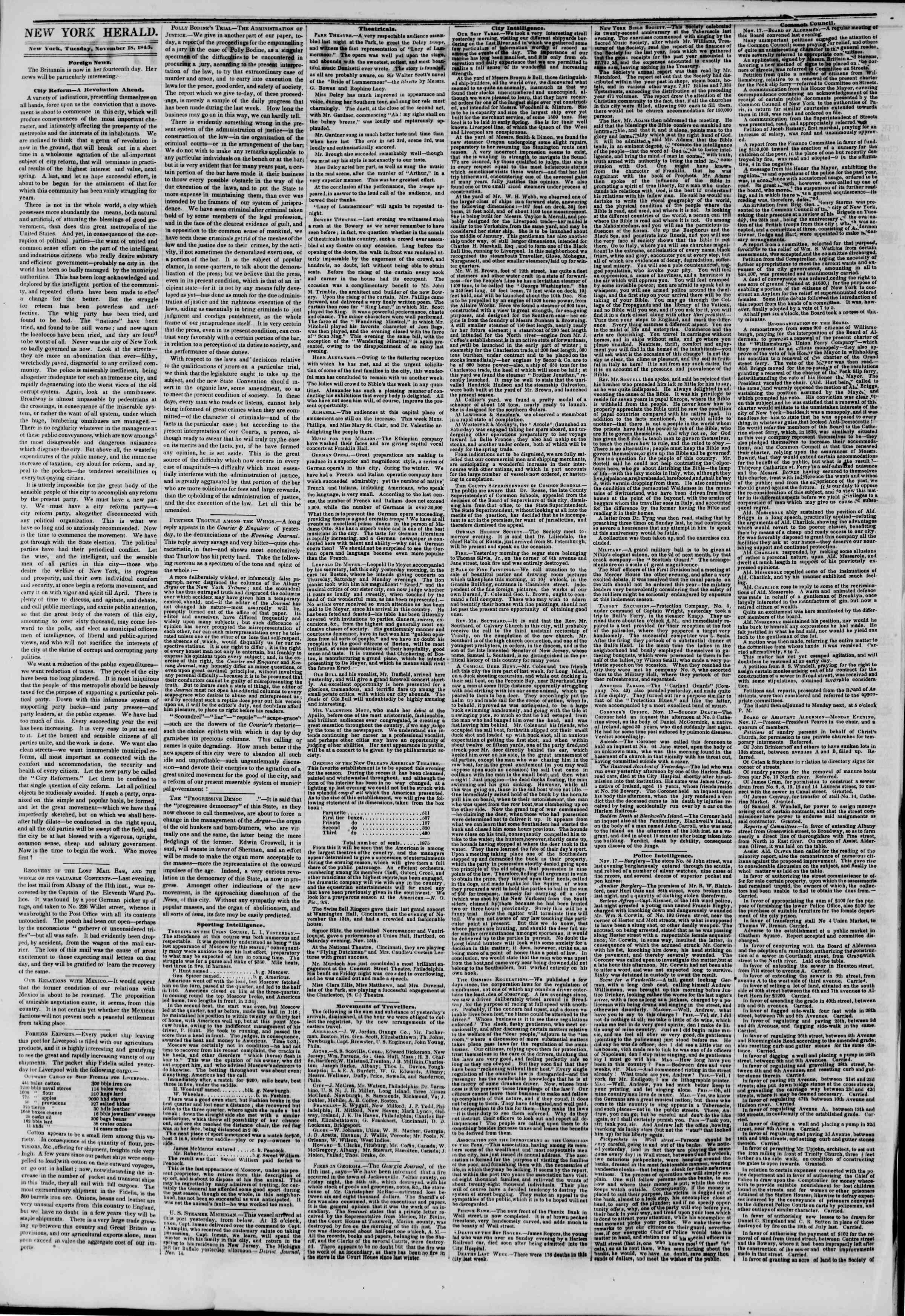 November 18, 1845 Tarihli The New York Herald Gazetesi Sayfa 2