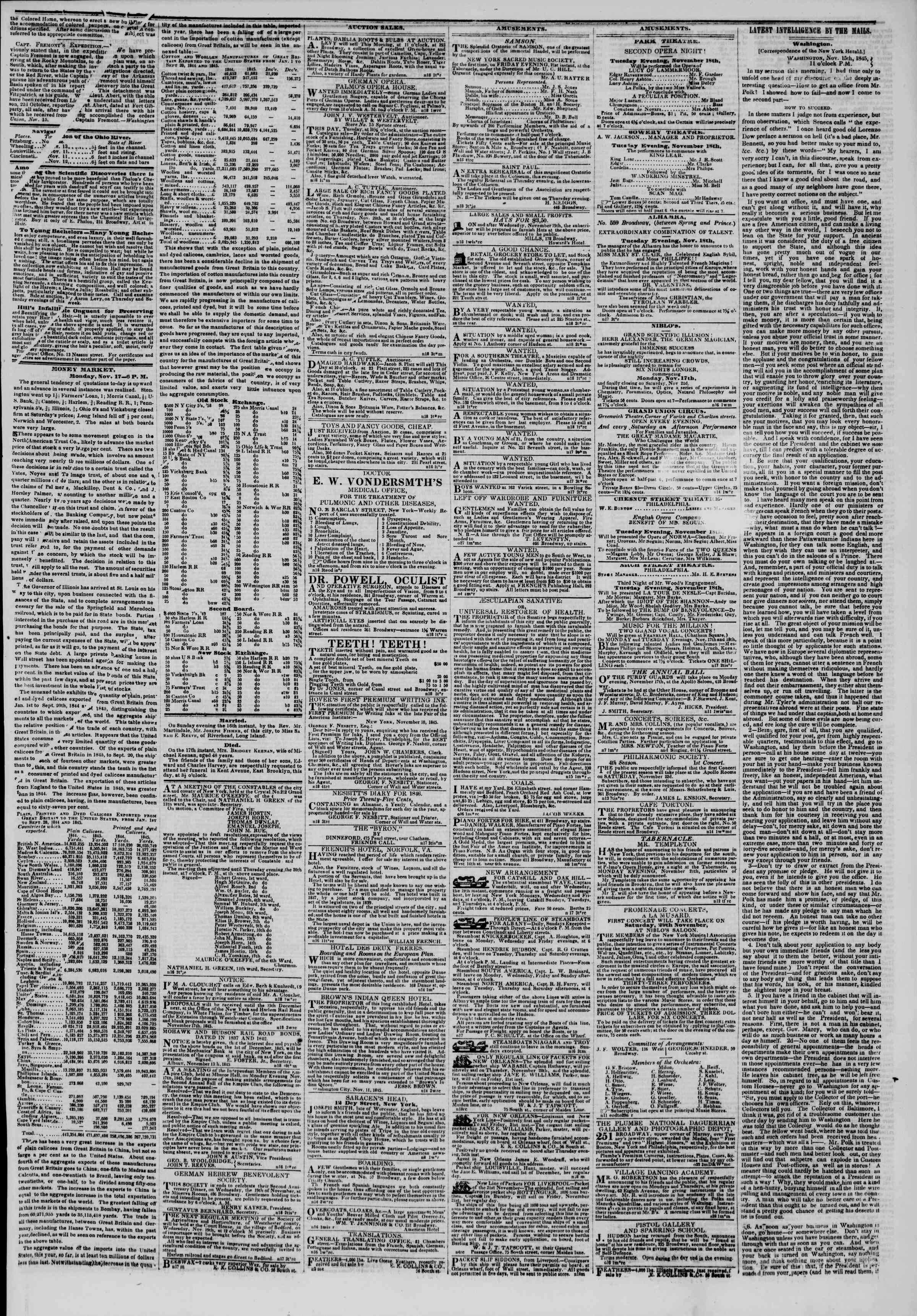 November 18, 1845 Tarihli The New York Herald Gazetesi Sayfa 3