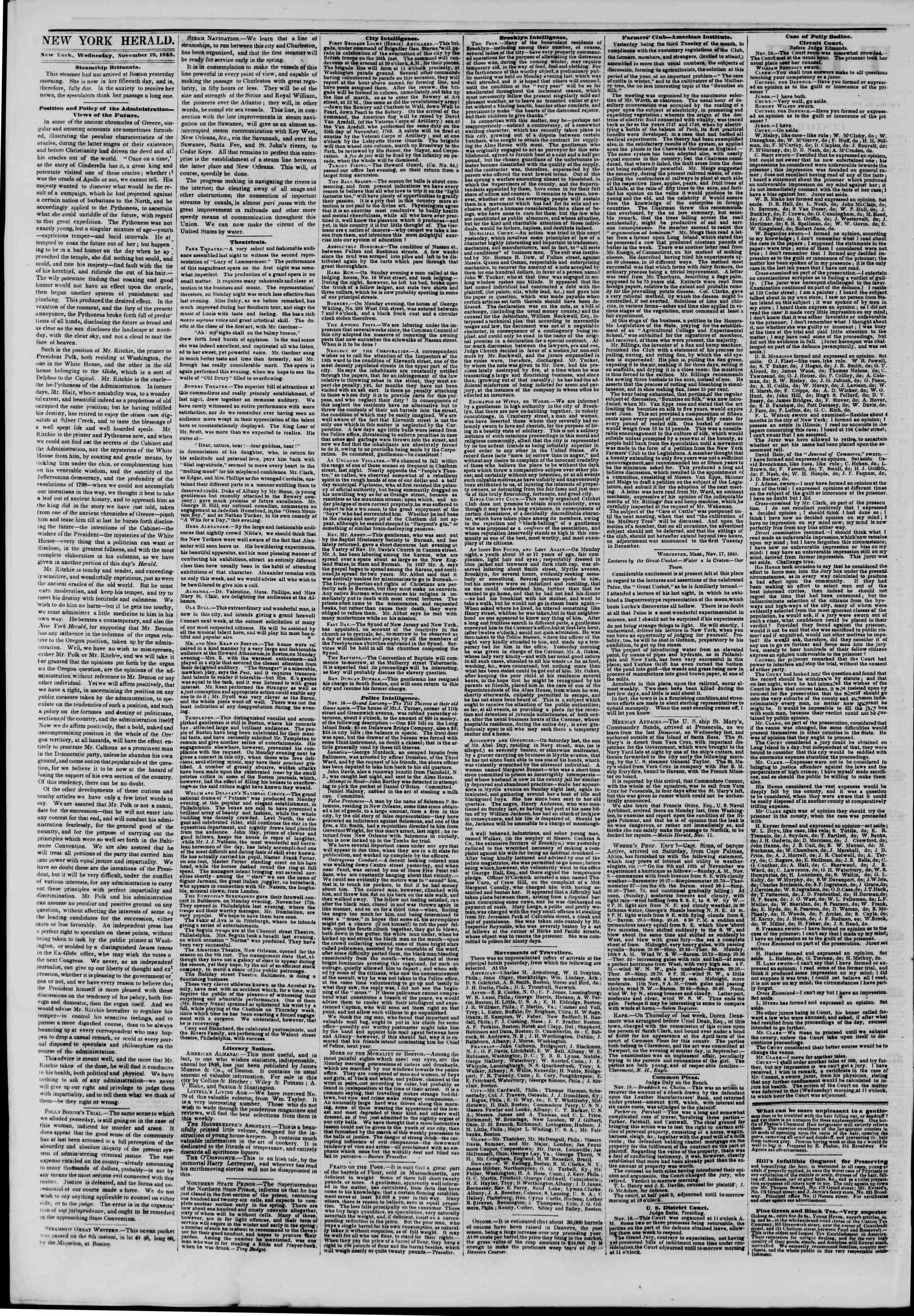 November 19, 1845 Tarihli The New York Herald Gazetesi Sayfa 2