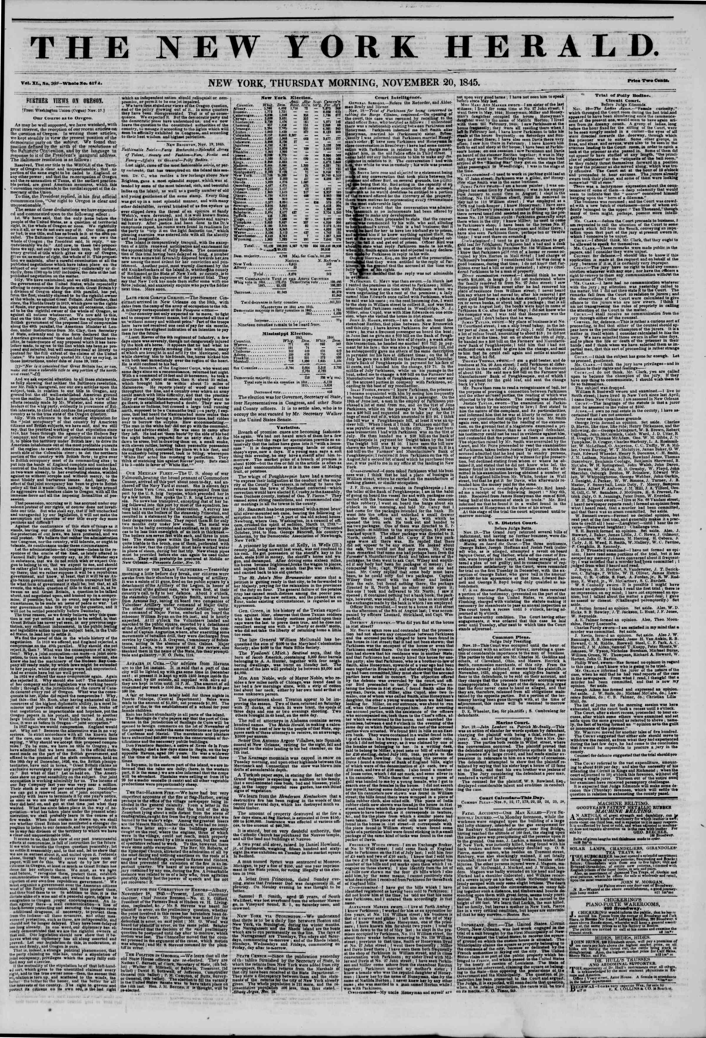 November 20, 1845 Tarihli The New York Herald Gazetesi Sayfa 1