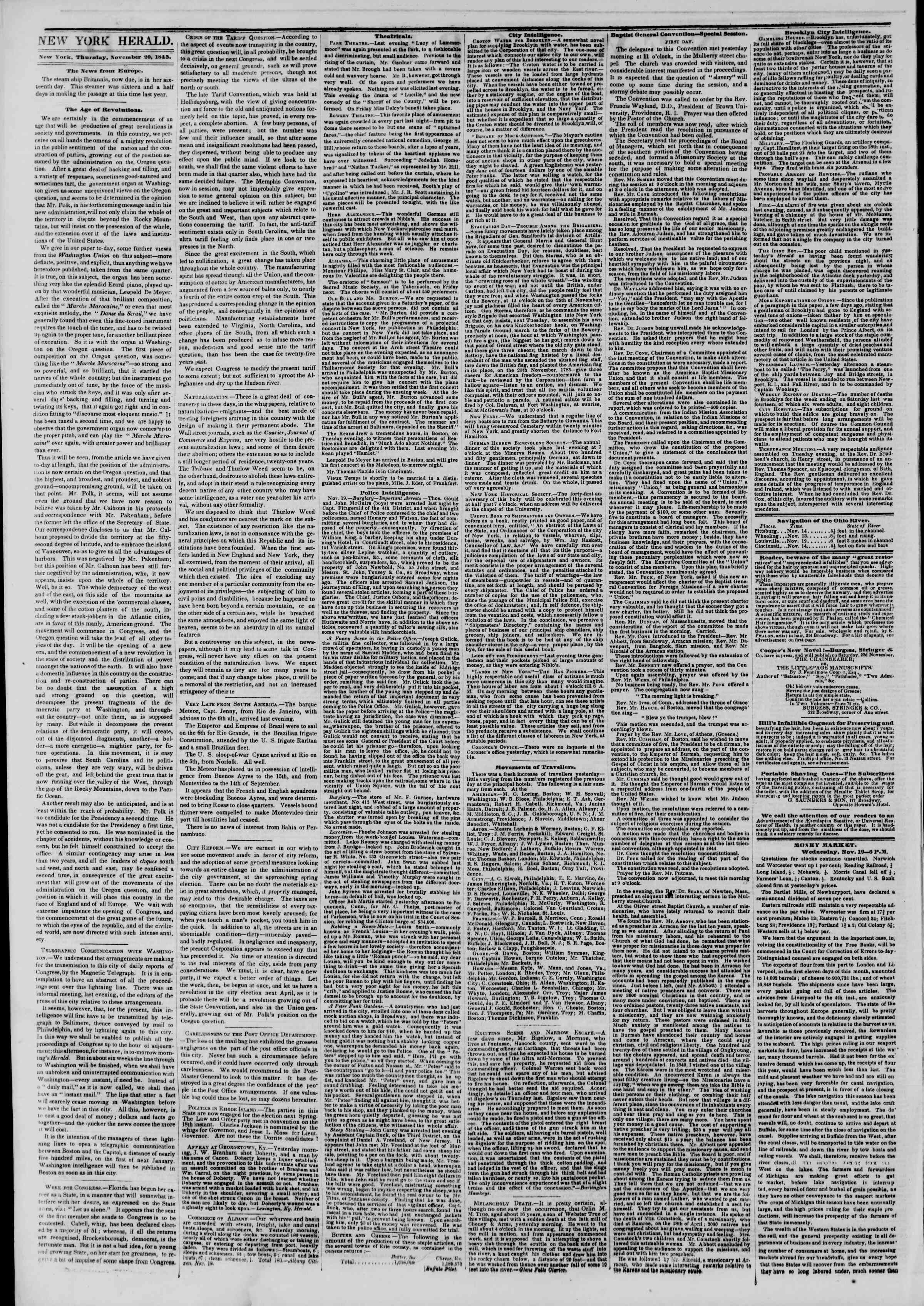 Newspaper of The New York Herald dated November 20, 1845 Page 2