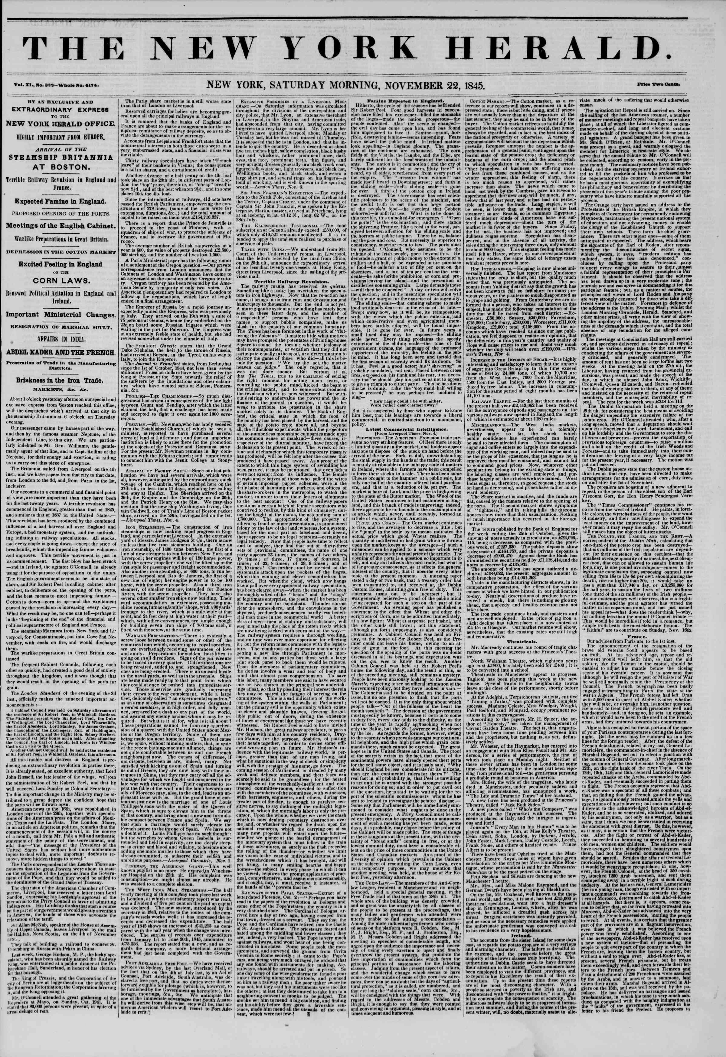Newspaper of The New York Herald dated November 22, 1845 Page 1