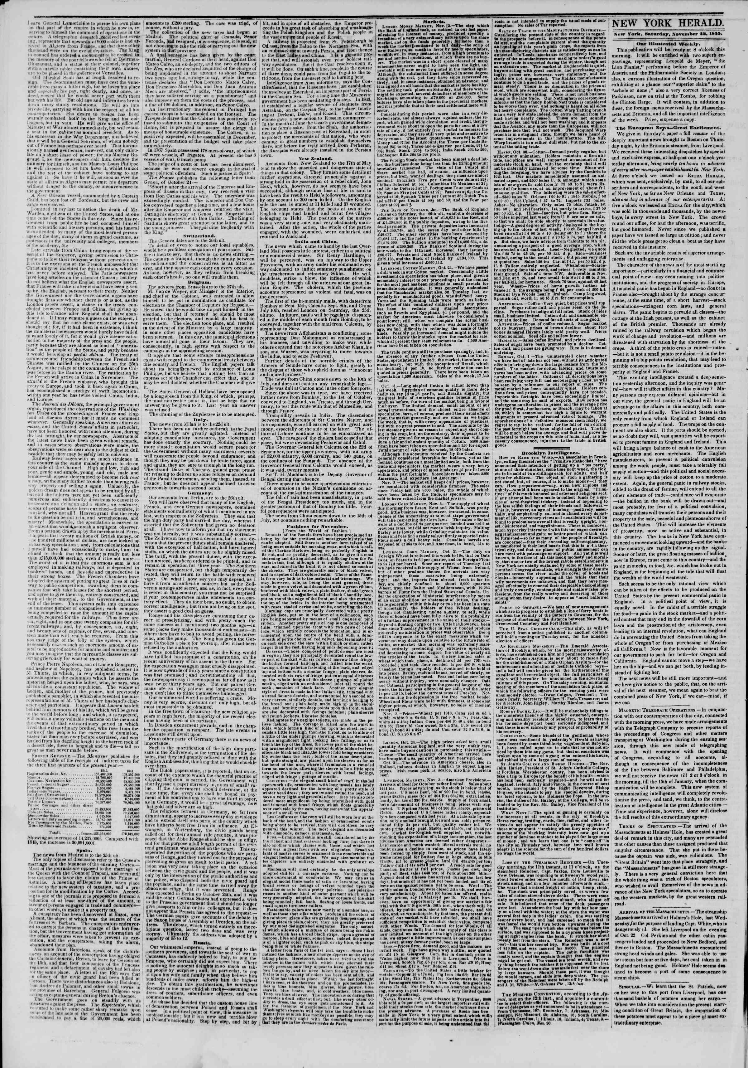 Newspaper of The New York Herald dated November 22, 1845 Page 2