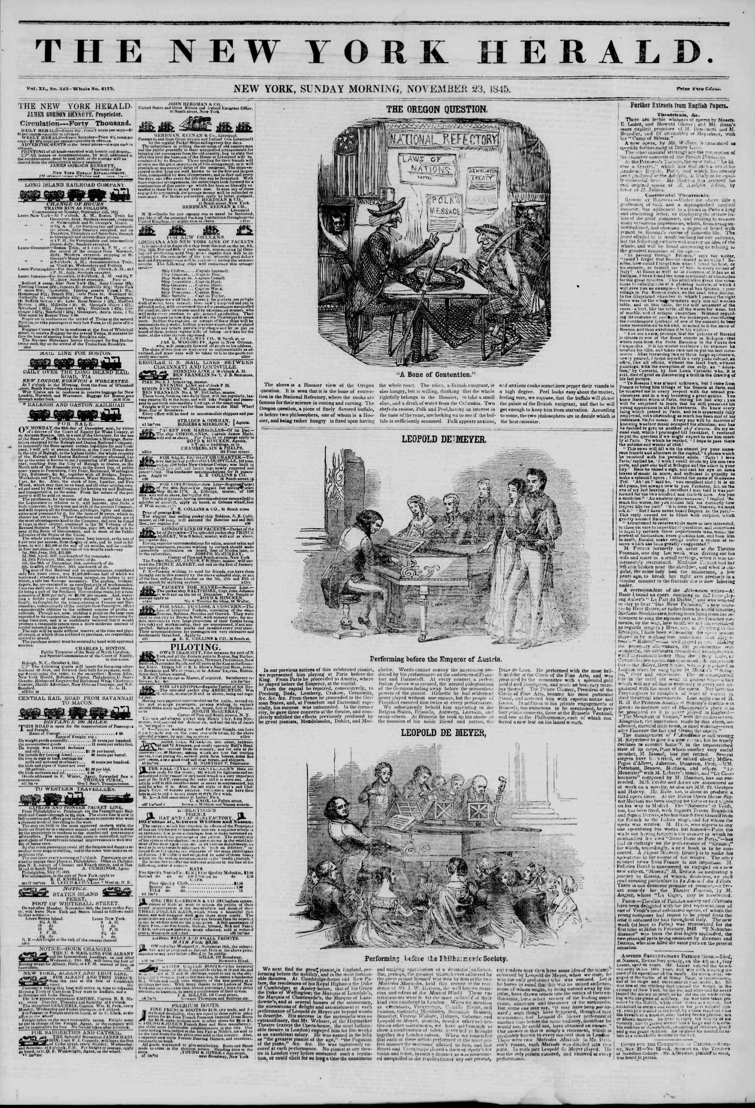 November 23, 1845 Tarihli The New York Herald Gazetesi Sayfa 1