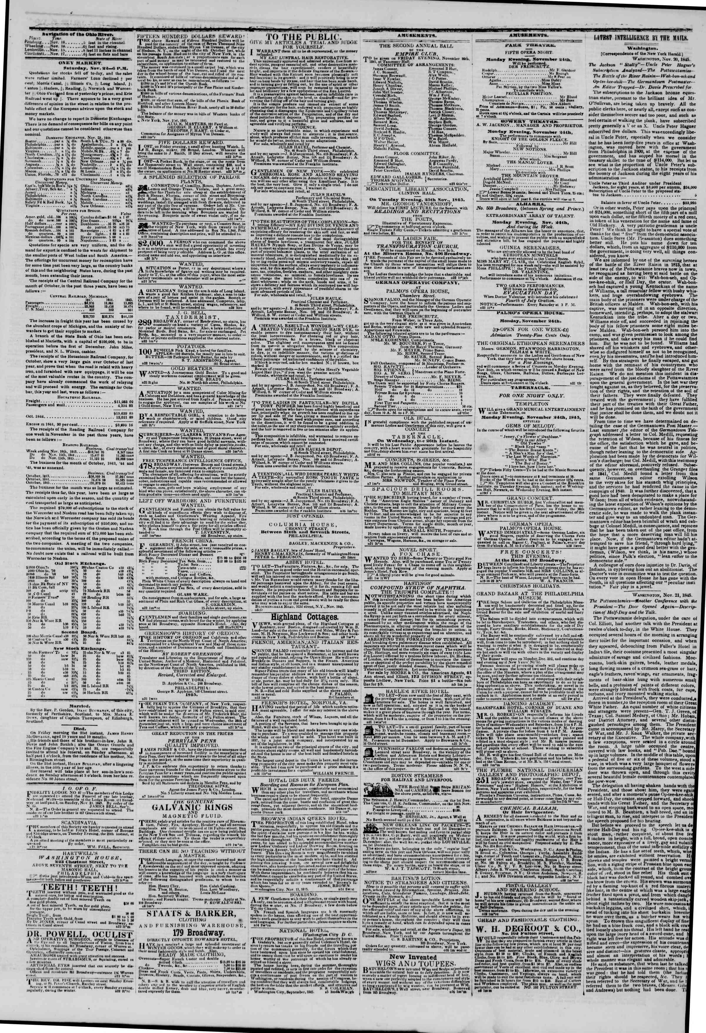November 23, 1845 Tarihli The New York Herald Gazetesi Sayfa 3