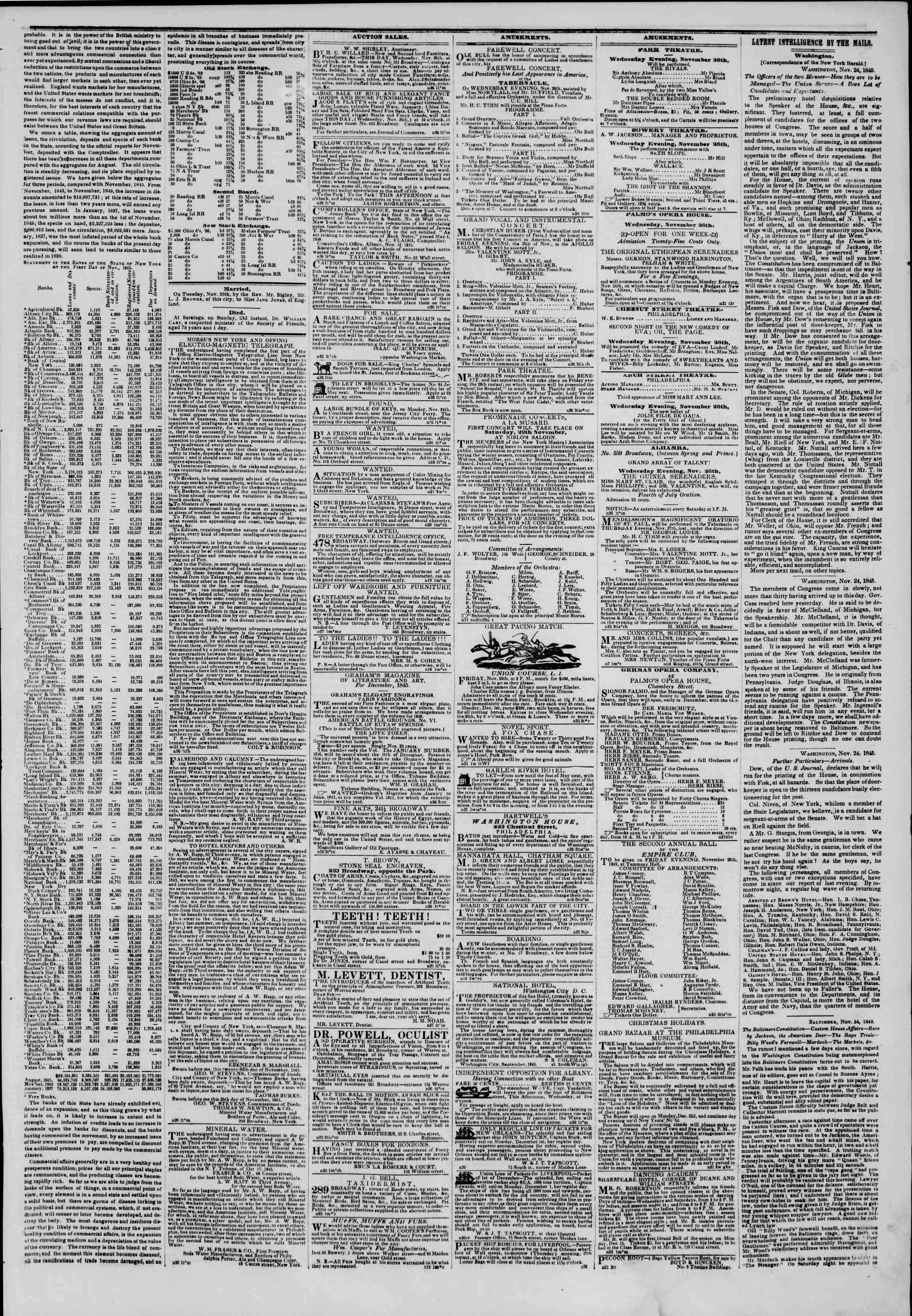 November 26, 1845 Tarihli The New York Herald Gazetesi Sayfa 3