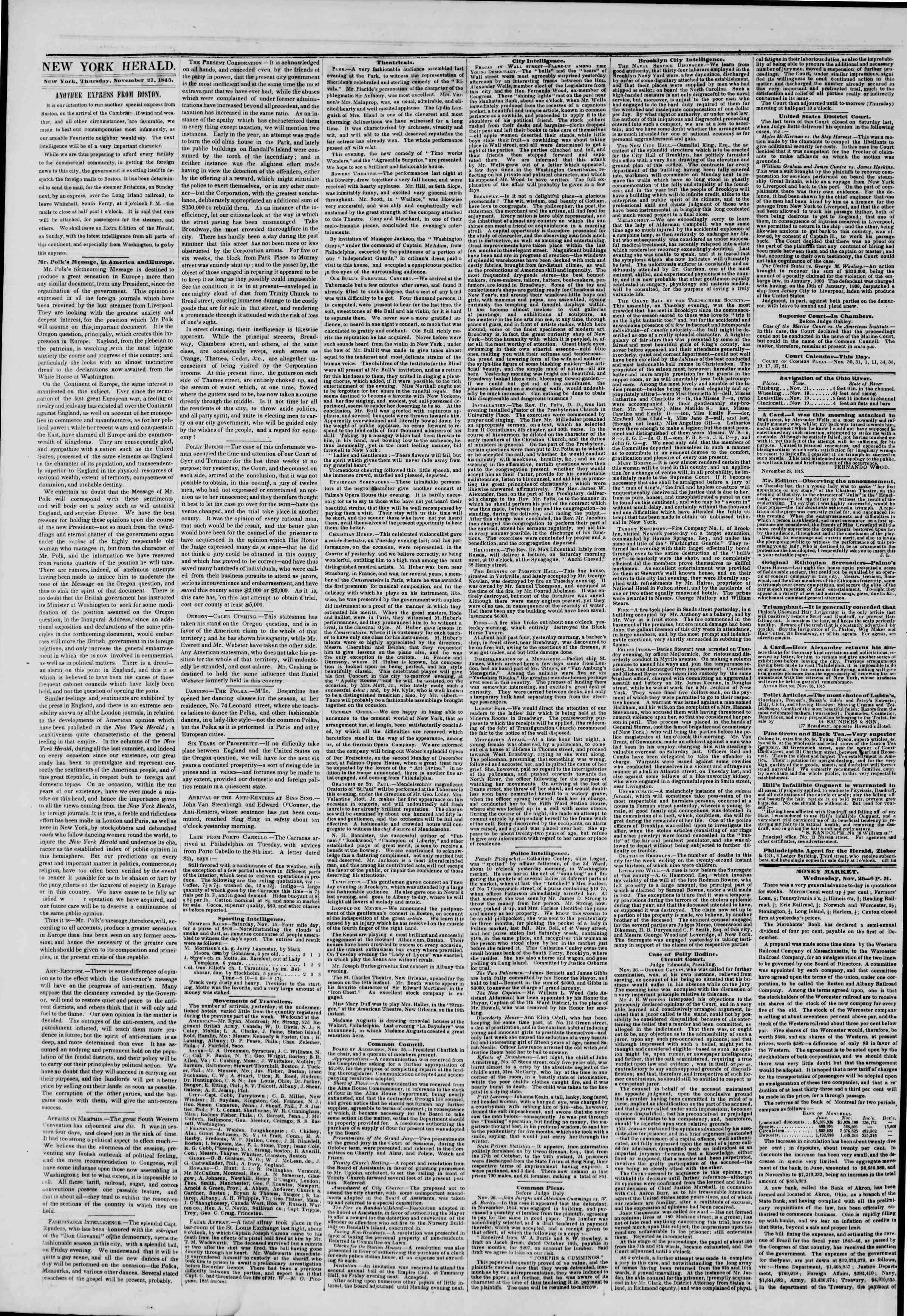 Newspaper of The New York Herald dated November 27, 1845 Page 2