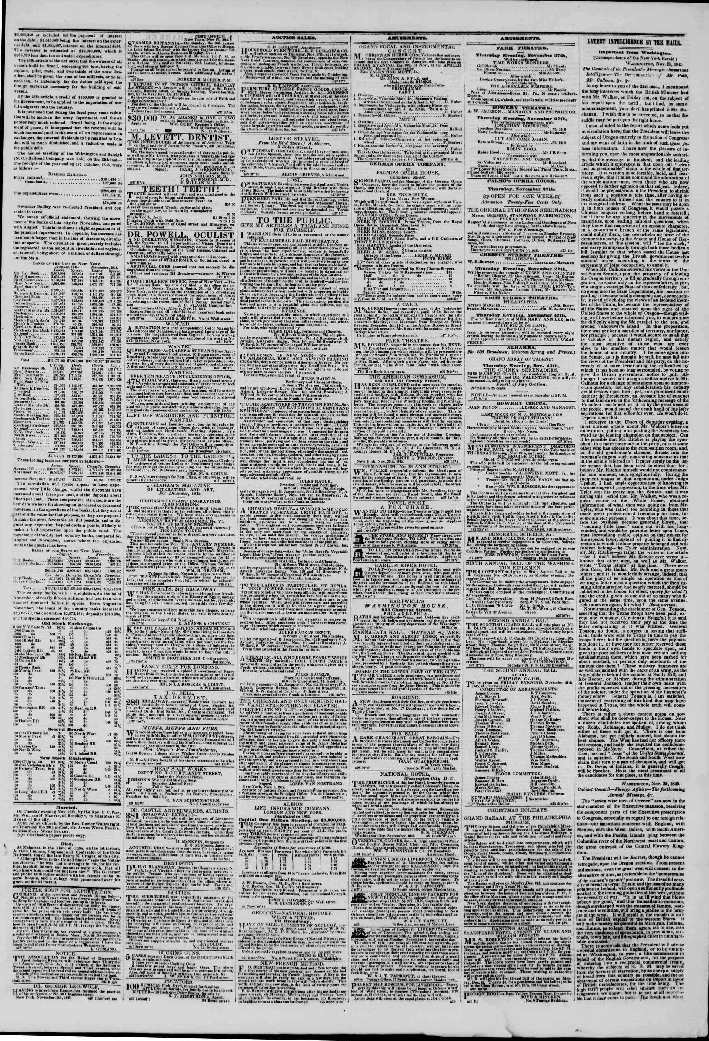 Newspaper of The New York Herald dated November 27, 1845 Page 3