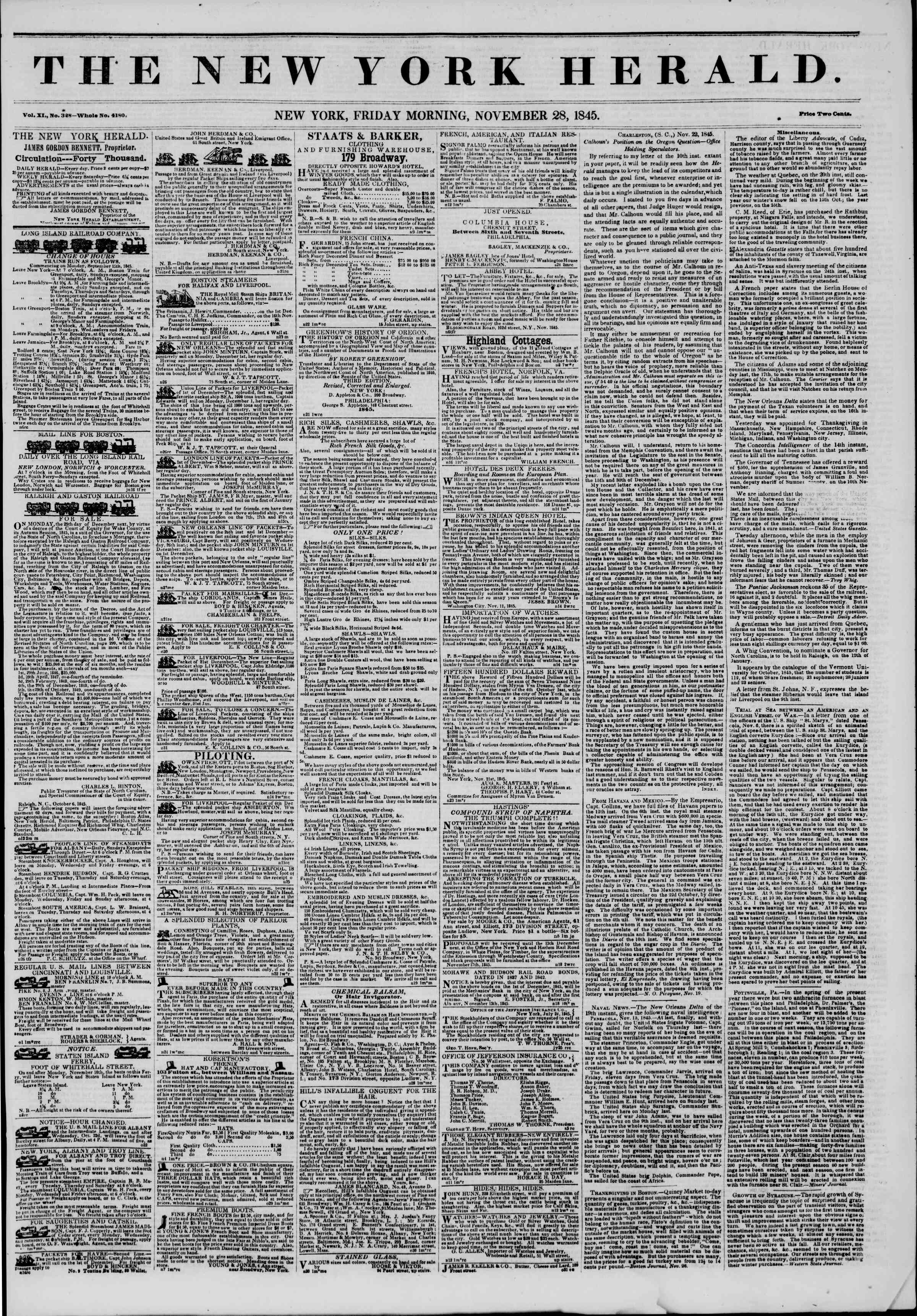 Newspaper of The New York Herald dated November 28, 1845 Page 1