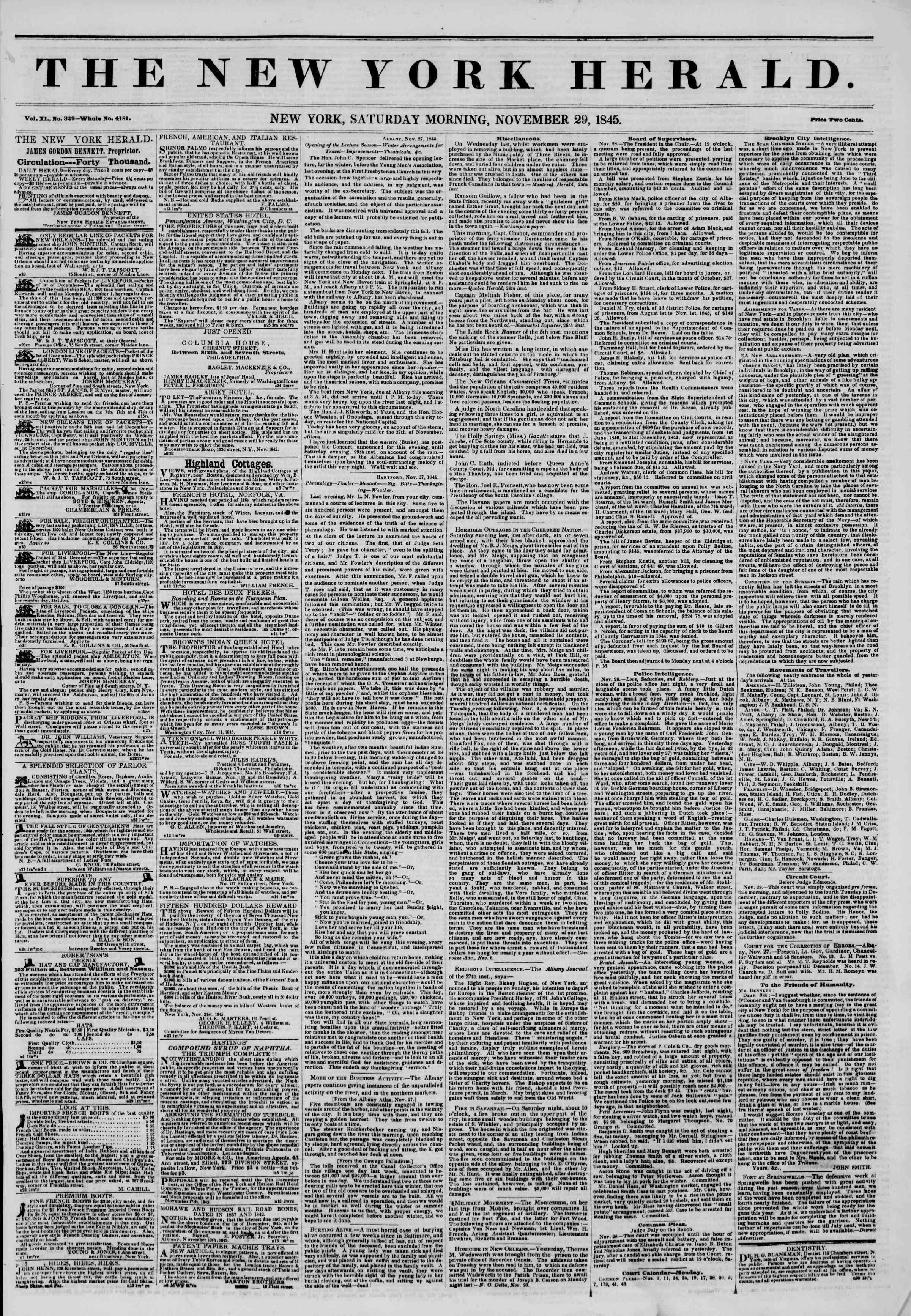 November 29, 1845 Tarihli The New York Herald Gazetesi Sayfa 1