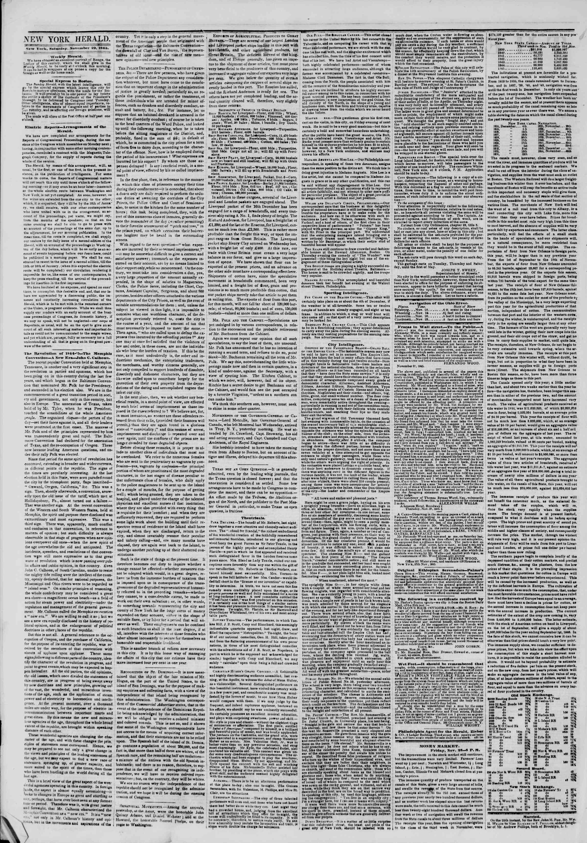 Newspaper of The New York Herald dated November 29, 1845 Page 2