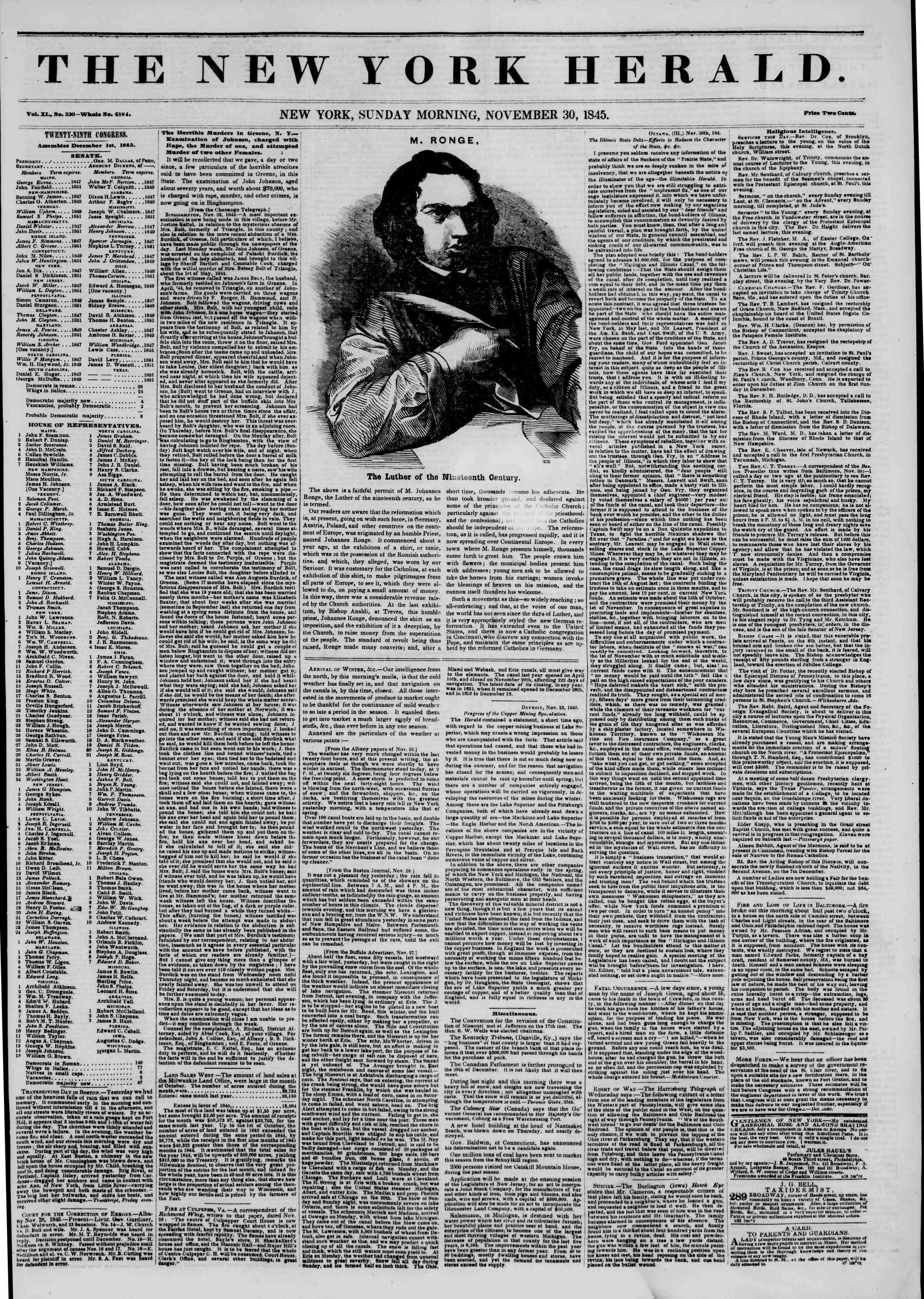 November 30, 1845 Tarihli The New York Herald Gazetesi Sayfa 1