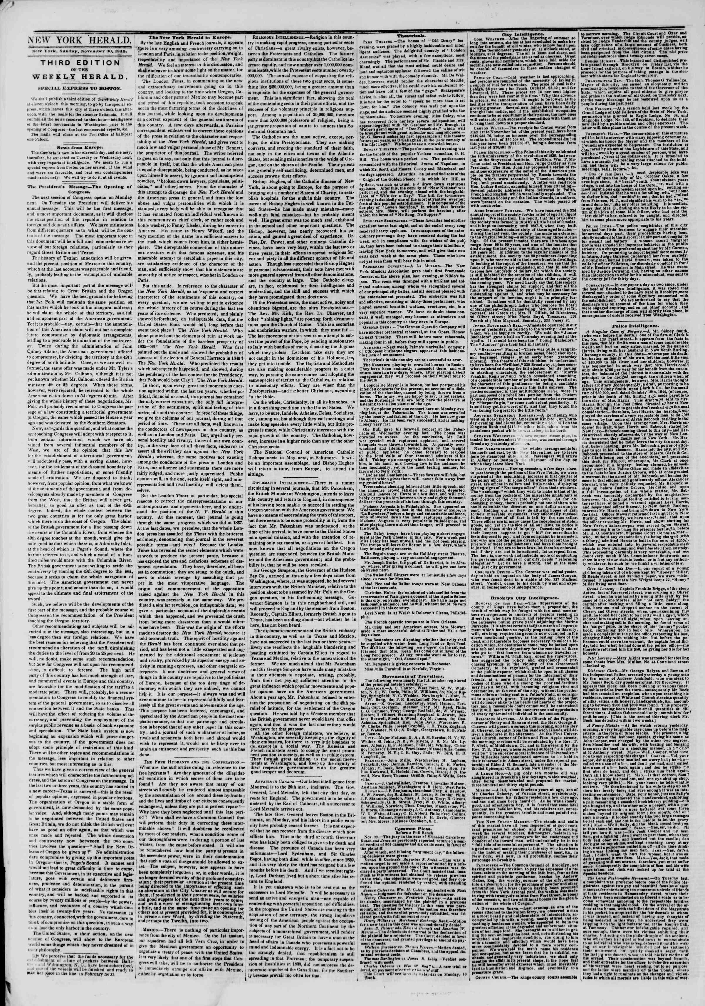 30 Kasım 1845 tarihli The New York Herald Gazetesi Sayfa 2