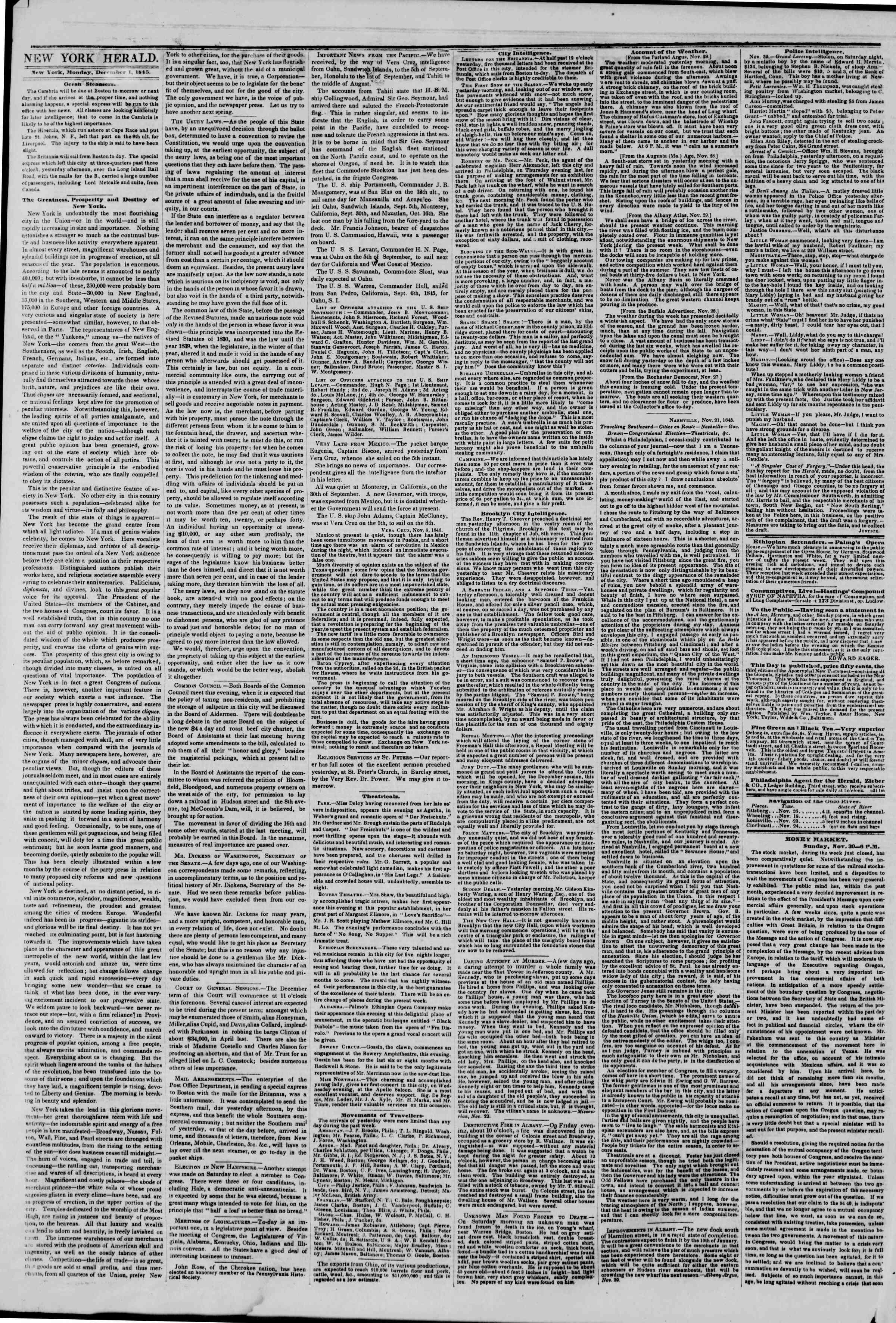 December 1, 1845 Tarihli The New York Herald Gazetesi Sayfa 2