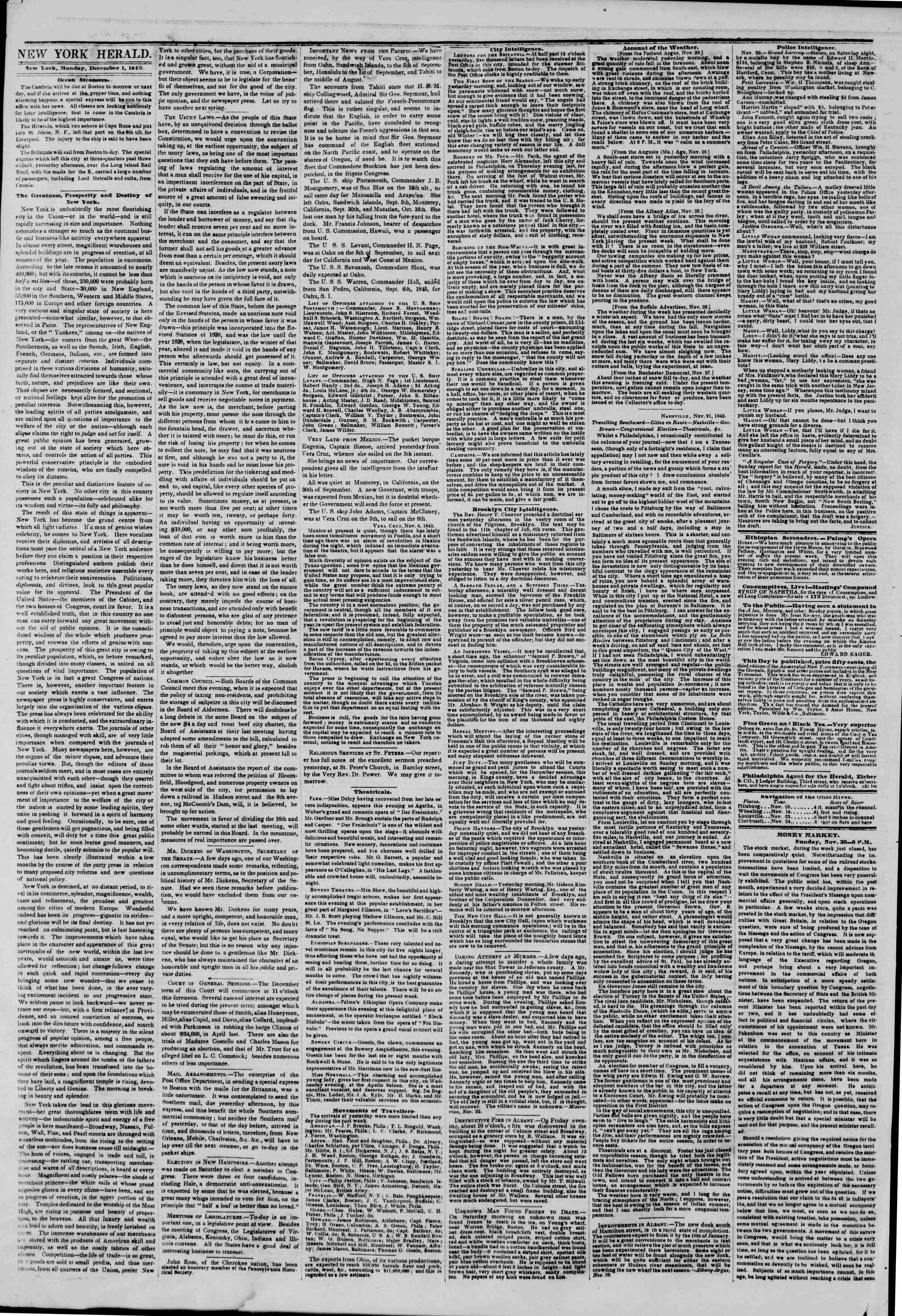 Newspaper of The New York Herald dated December 1, 1845 Page 4
