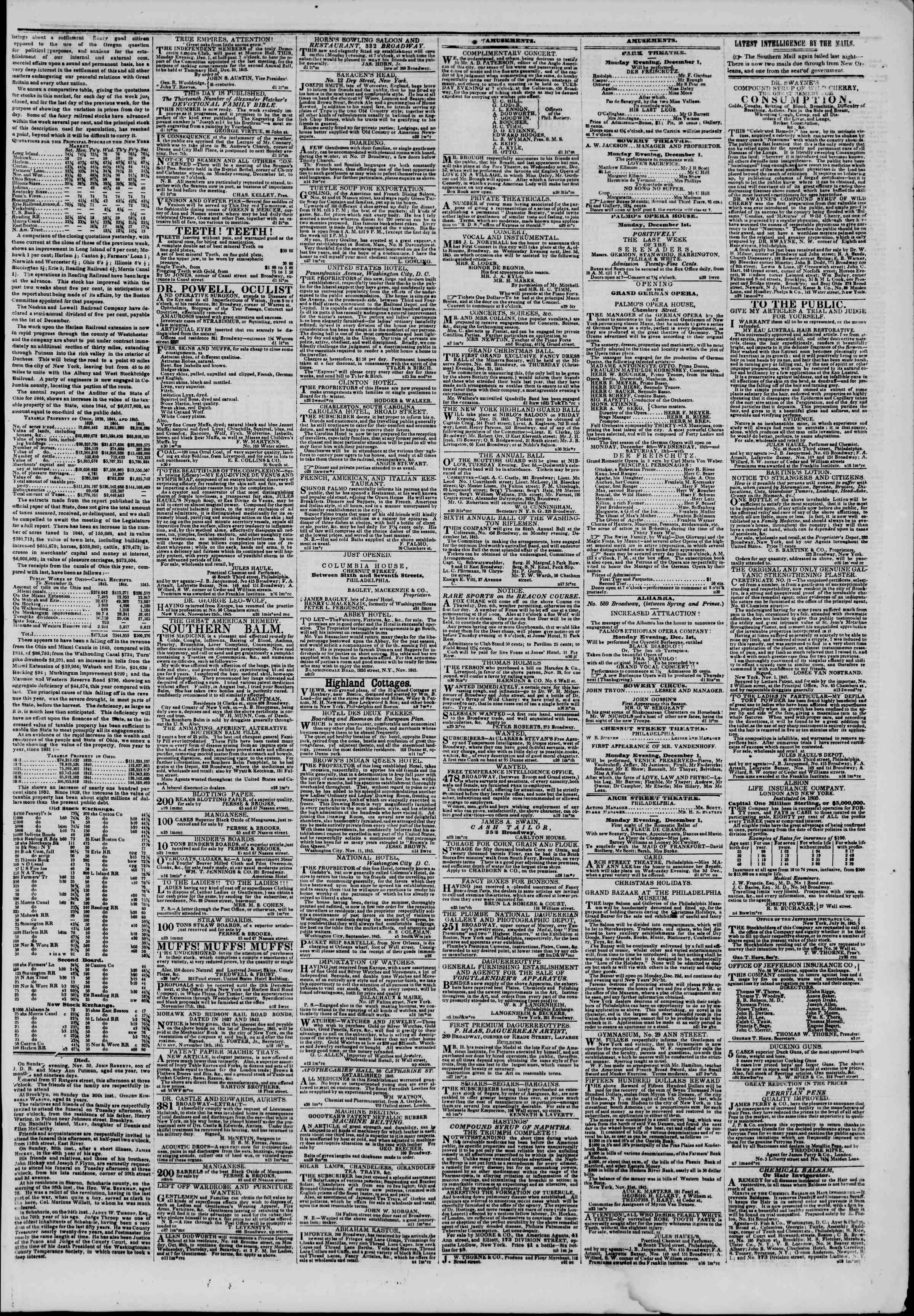 Newspaper of The New York Herald dated December 1, 1845 Page 5