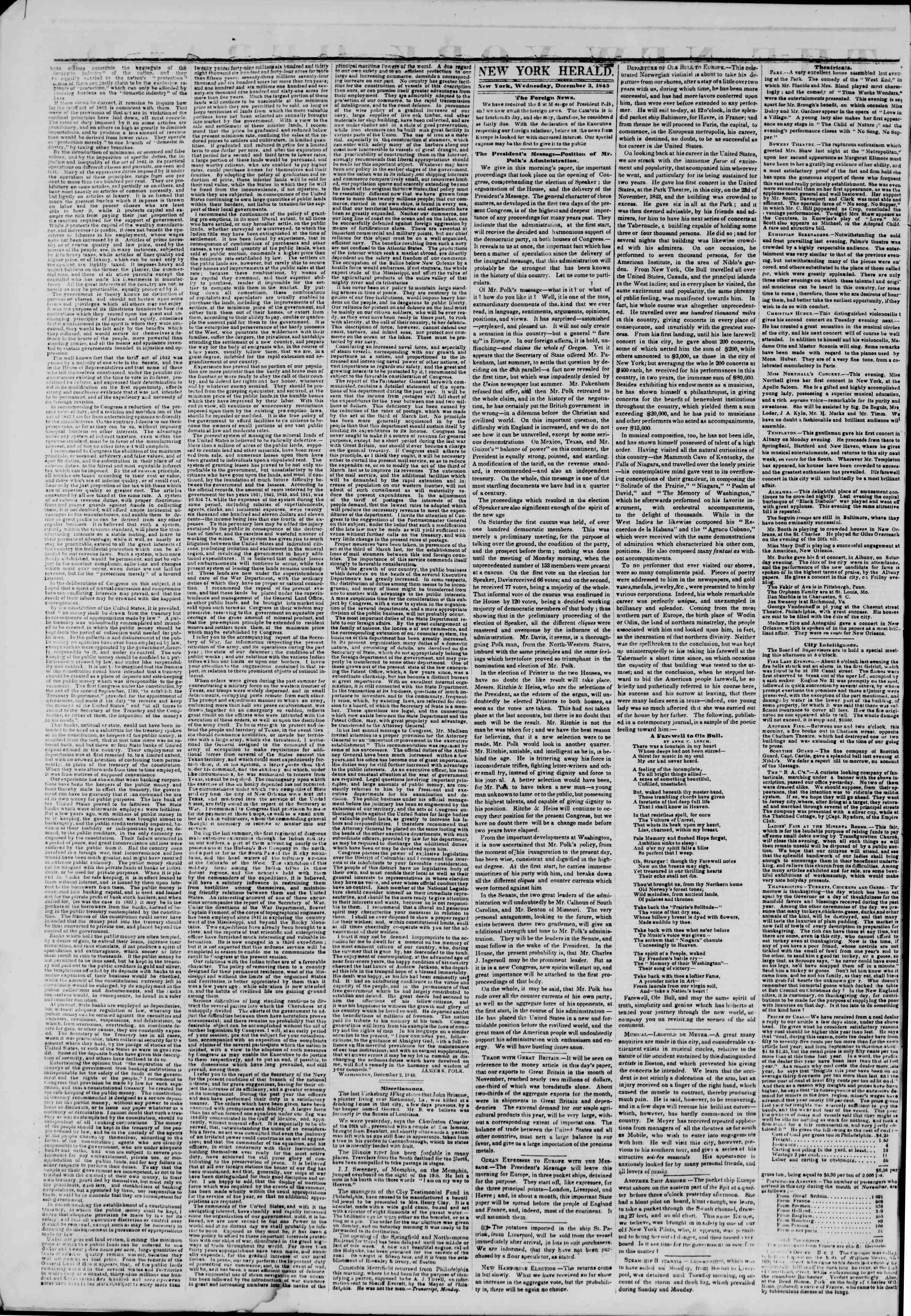 Newspaper of The New York Herald dated December 3, 1845 Page 2