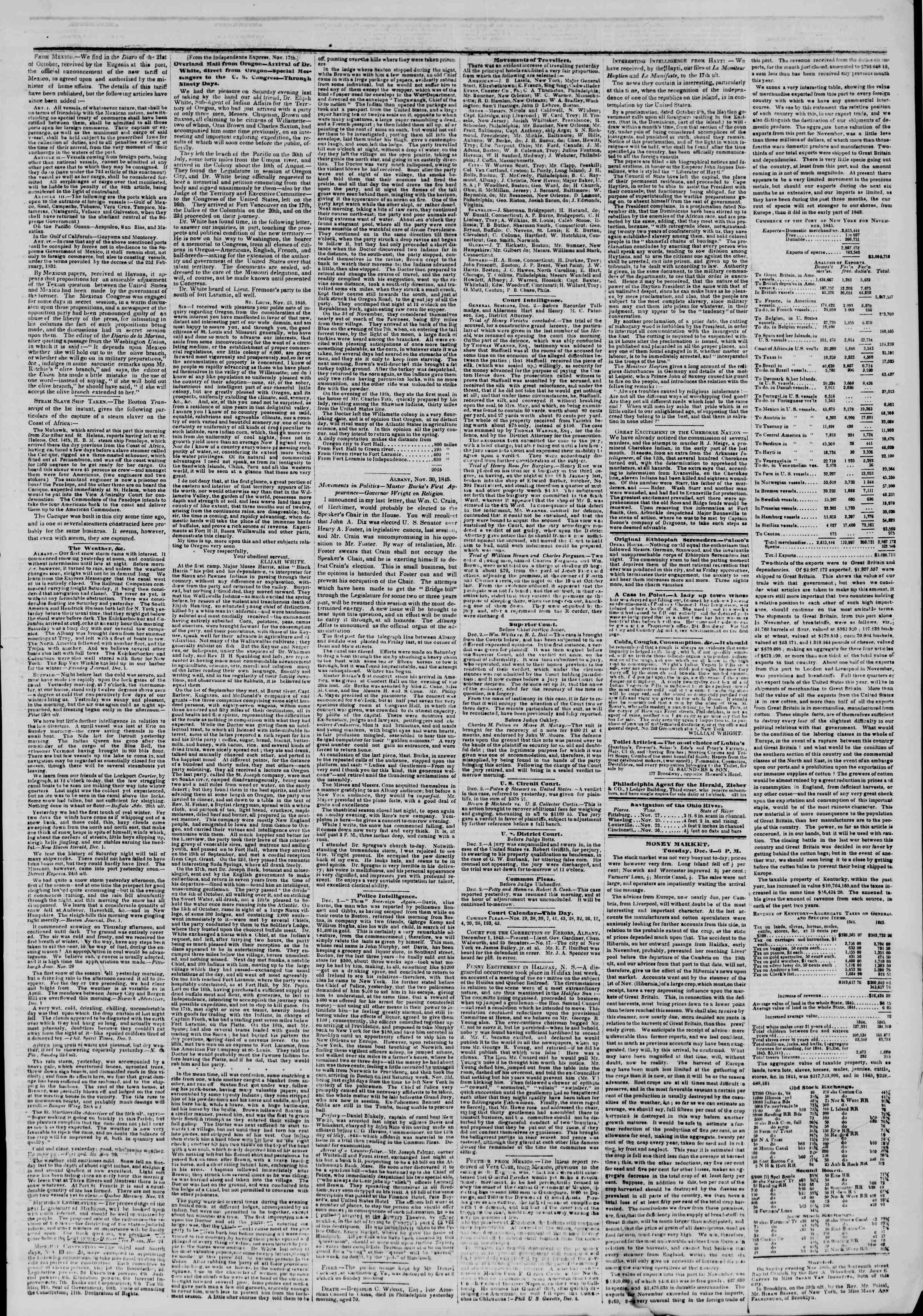 Newspaper of The New York Herald dated December 3, 1845 Page 3