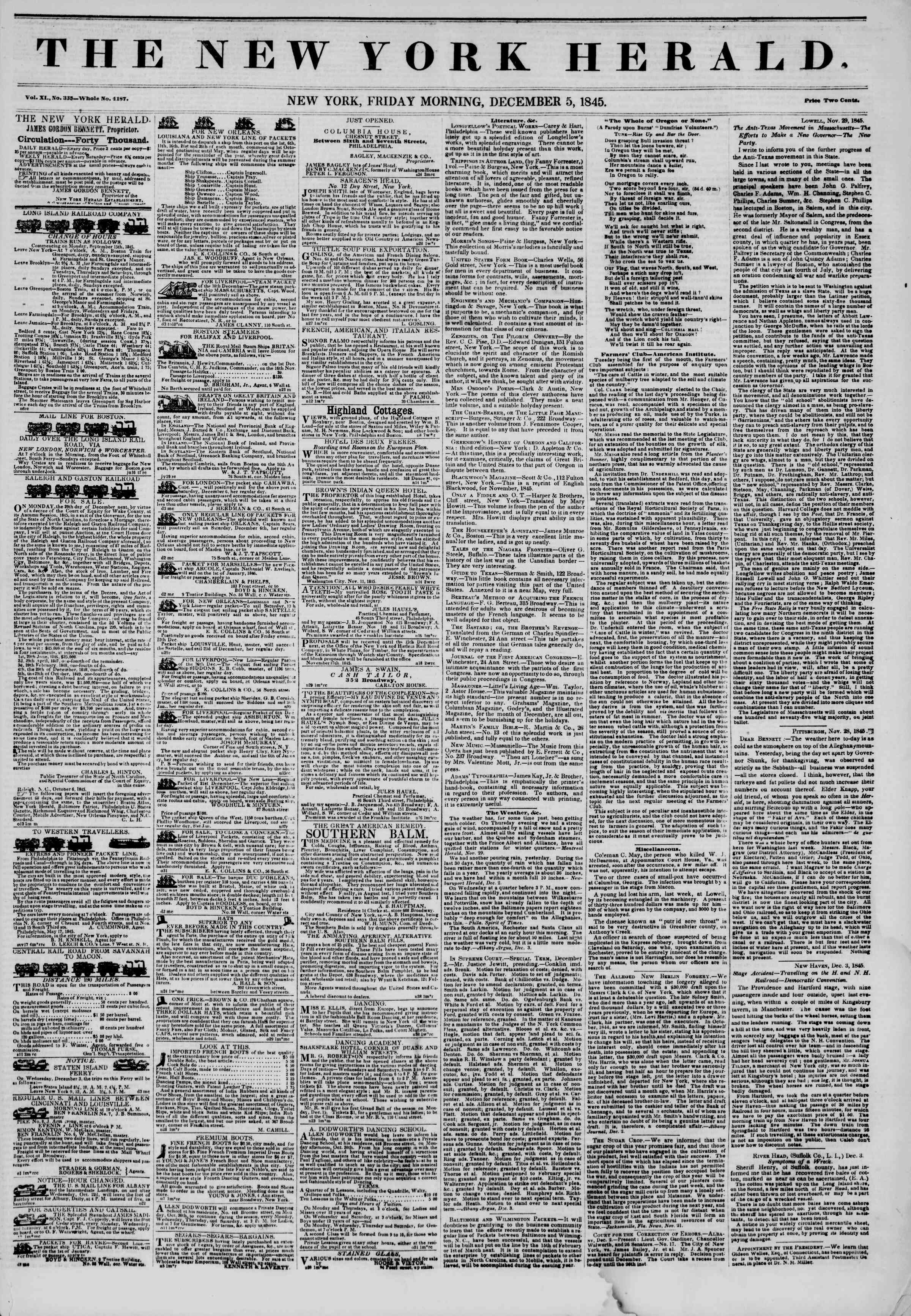Newspaper of The New York Herald dated December 5, 1845 Page 1