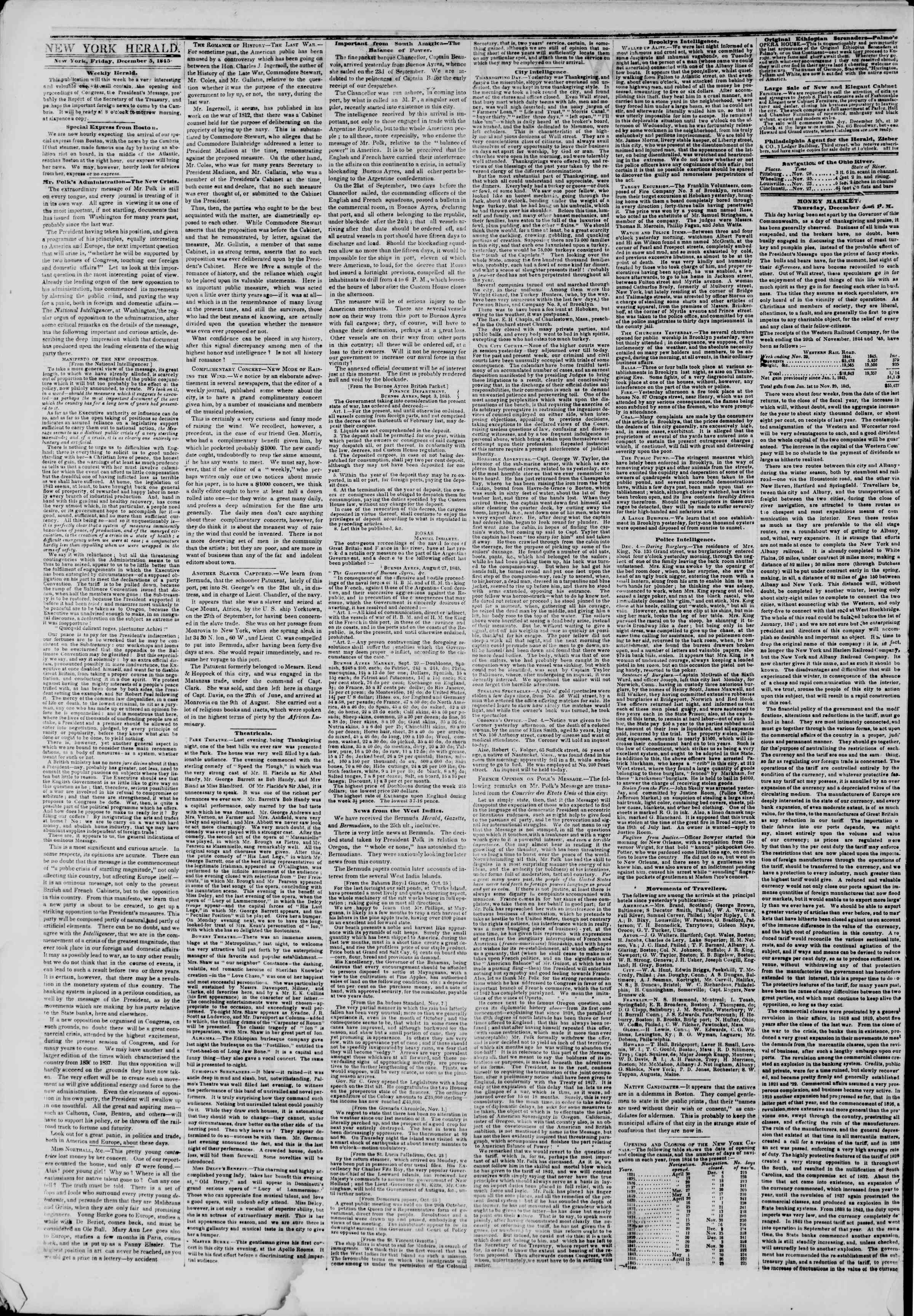 Newspaper of The New York Herald dated December 5, 1845 Page 2