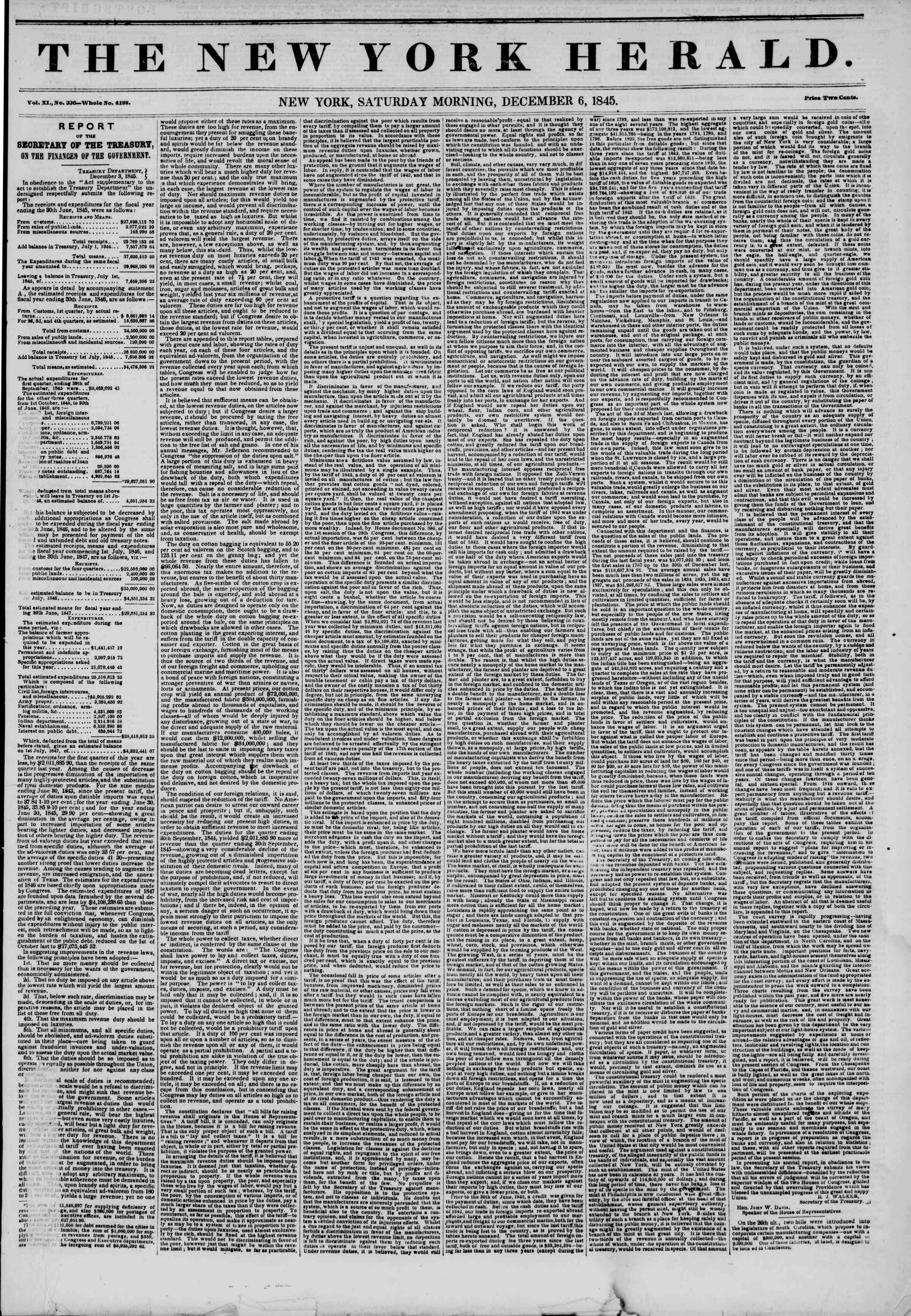 Newspaper of The New York Herald dated December 6, 1845 Page 1