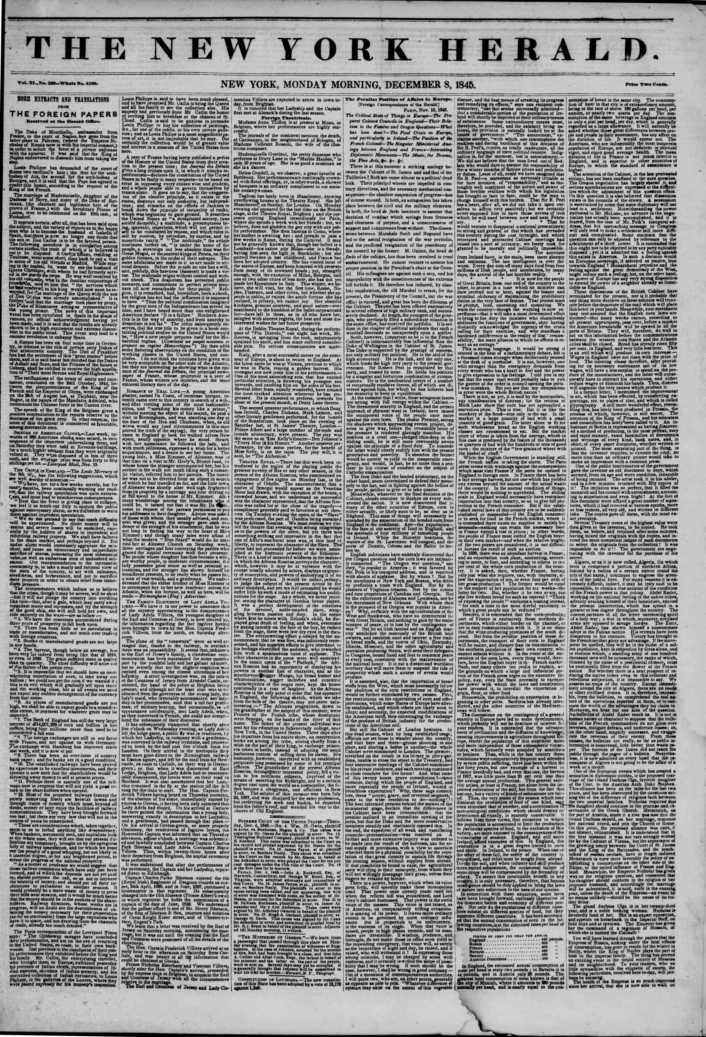 Newspaper of The New York Herald dated December 8, 1845 Page 1
