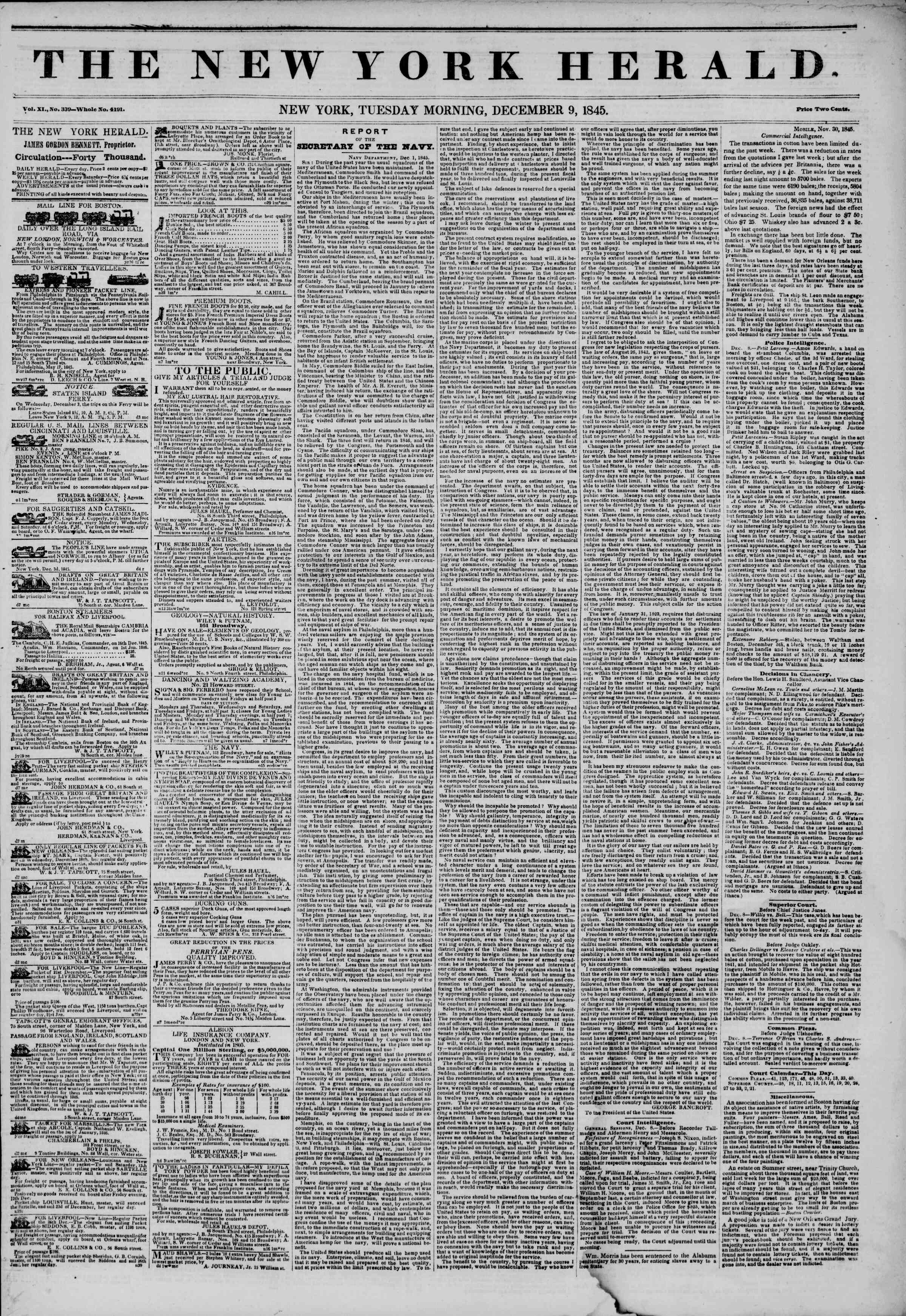 Newspaper of The New York Herald dated December 9, 1845 Page 1