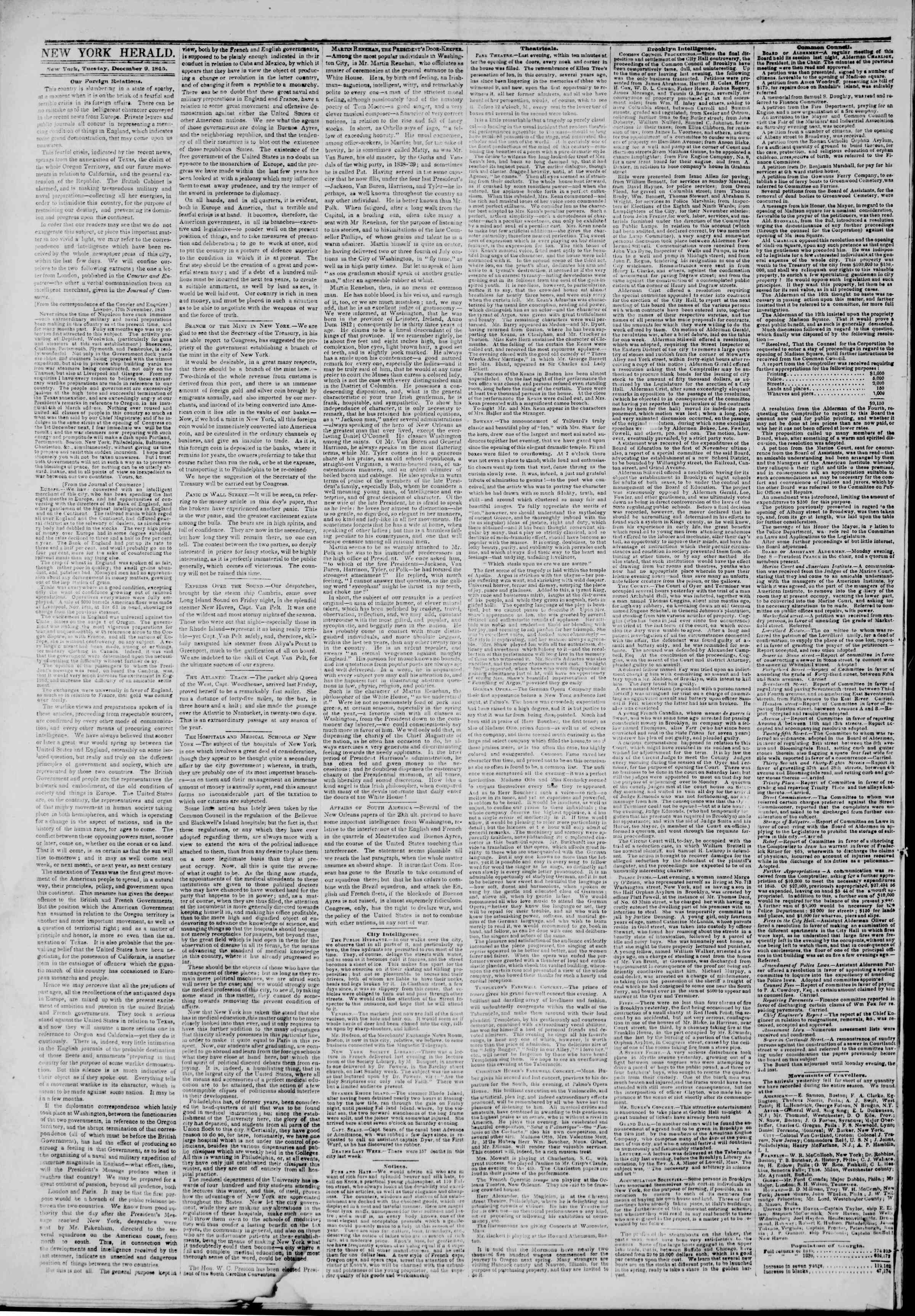 Newspaper of The New York Herald dated December 9, 1845 Page 2
