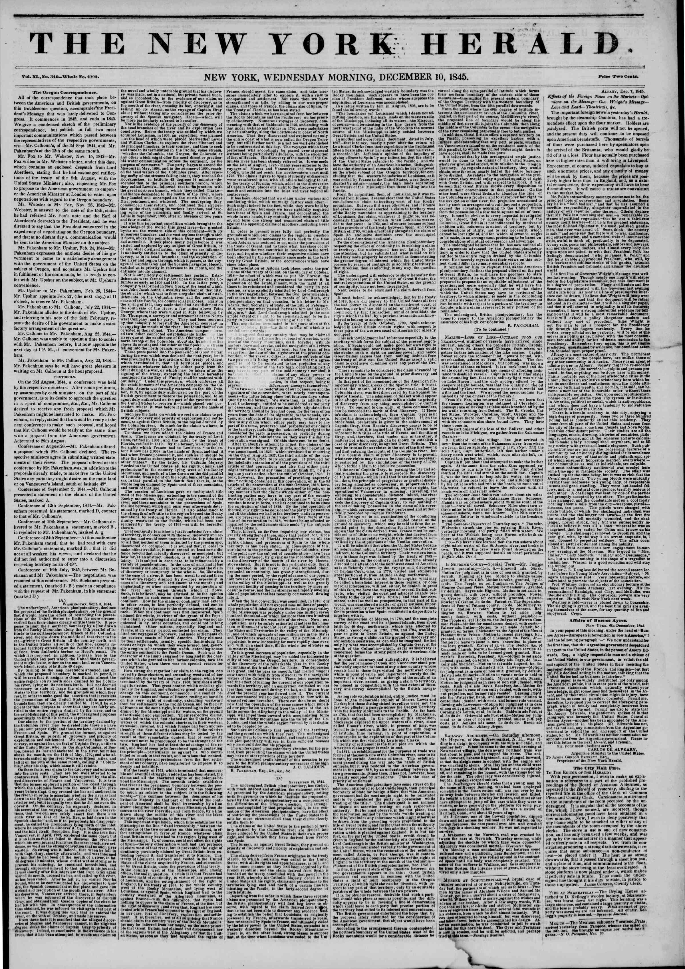 Newspaper of The New York Herald dated December 10, 1845 Page 1