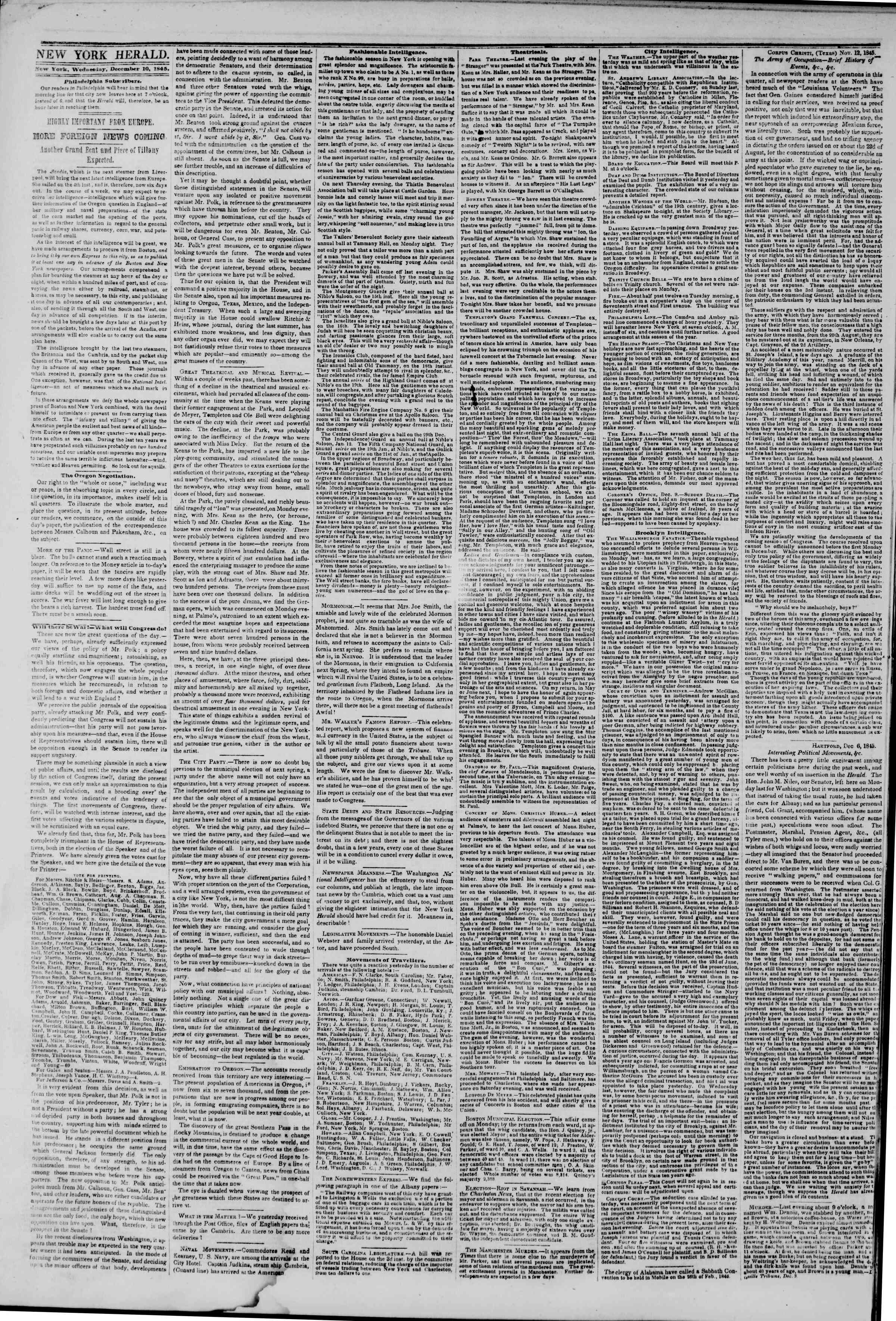 Newspaper of The New York Herald dated December 10, 1845 Page 2