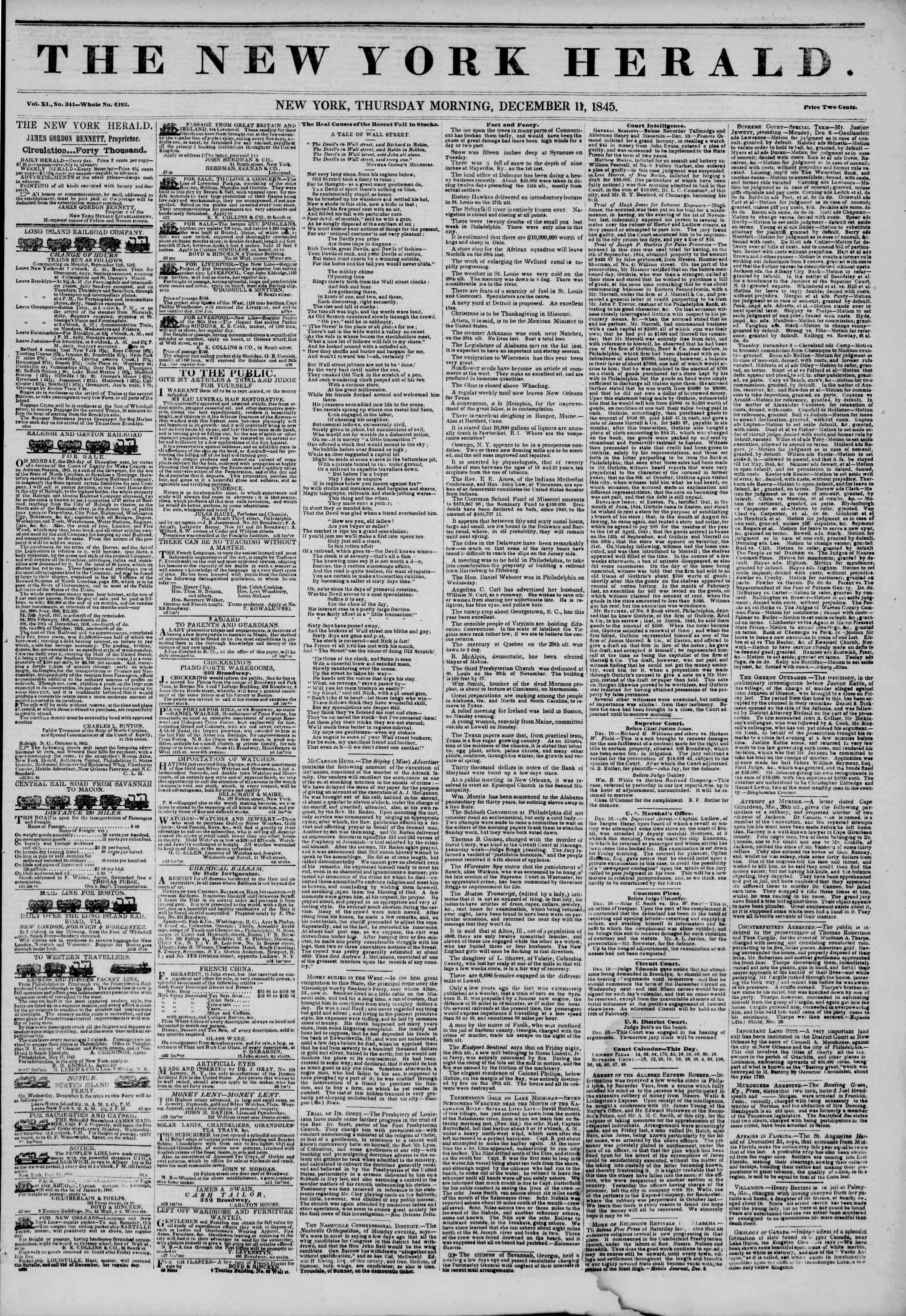 Newspaper of The New York Herald dated December 11, 1845 Page 1