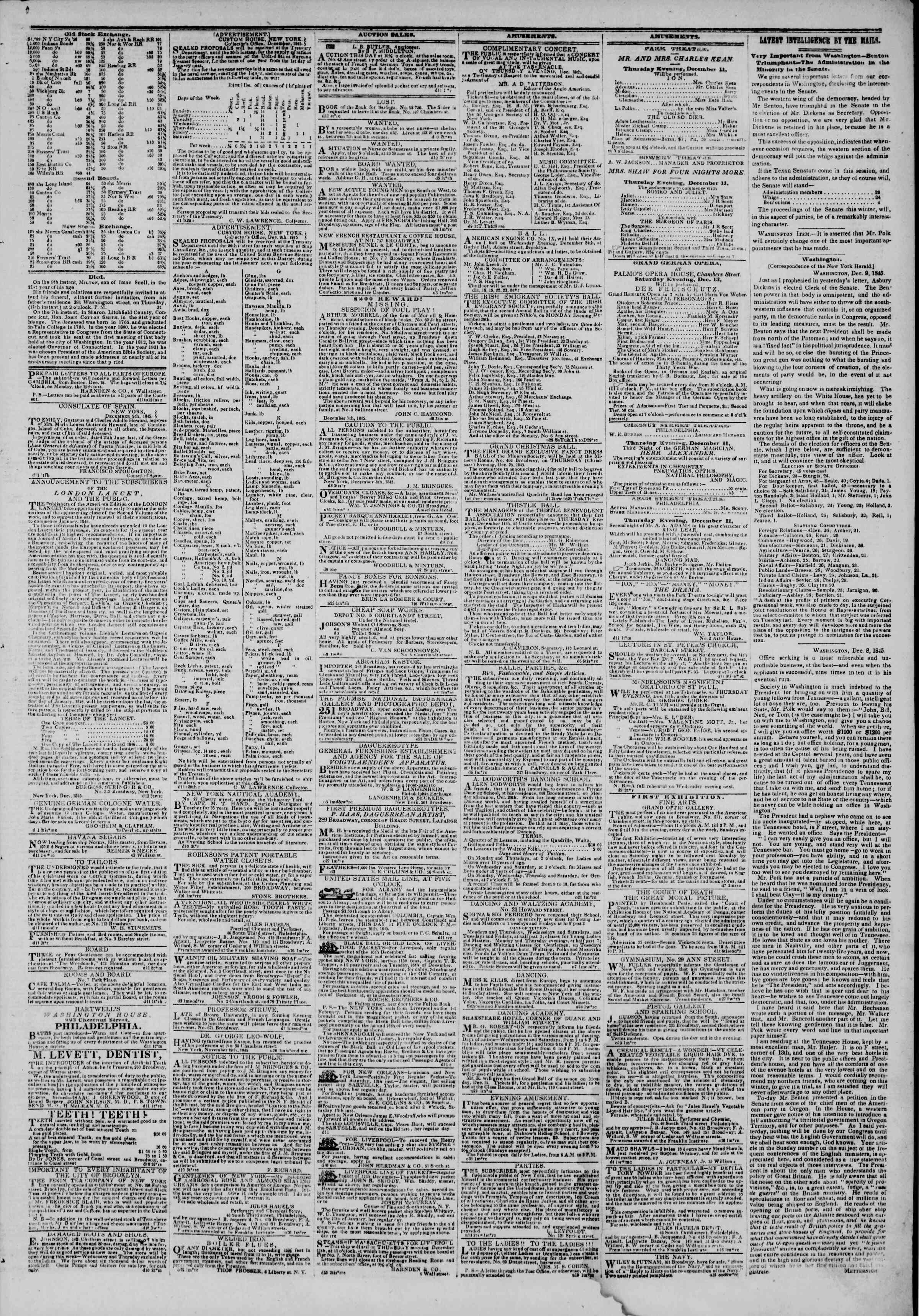 Newspaper of The New York Herald dated December 11, 1845 Page 3