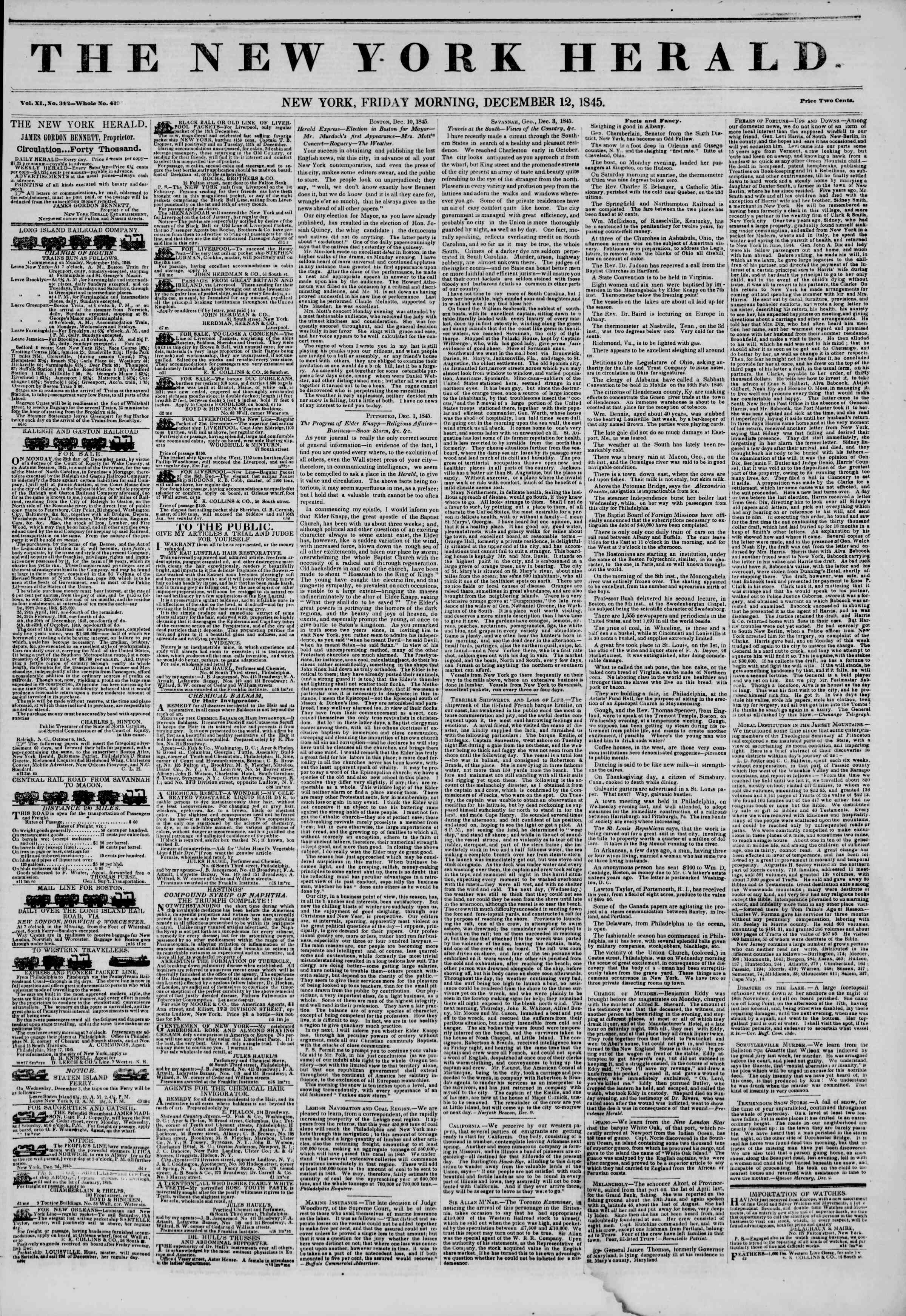 Newspaper of The New York Herald dated December 12, 1845 Page 1