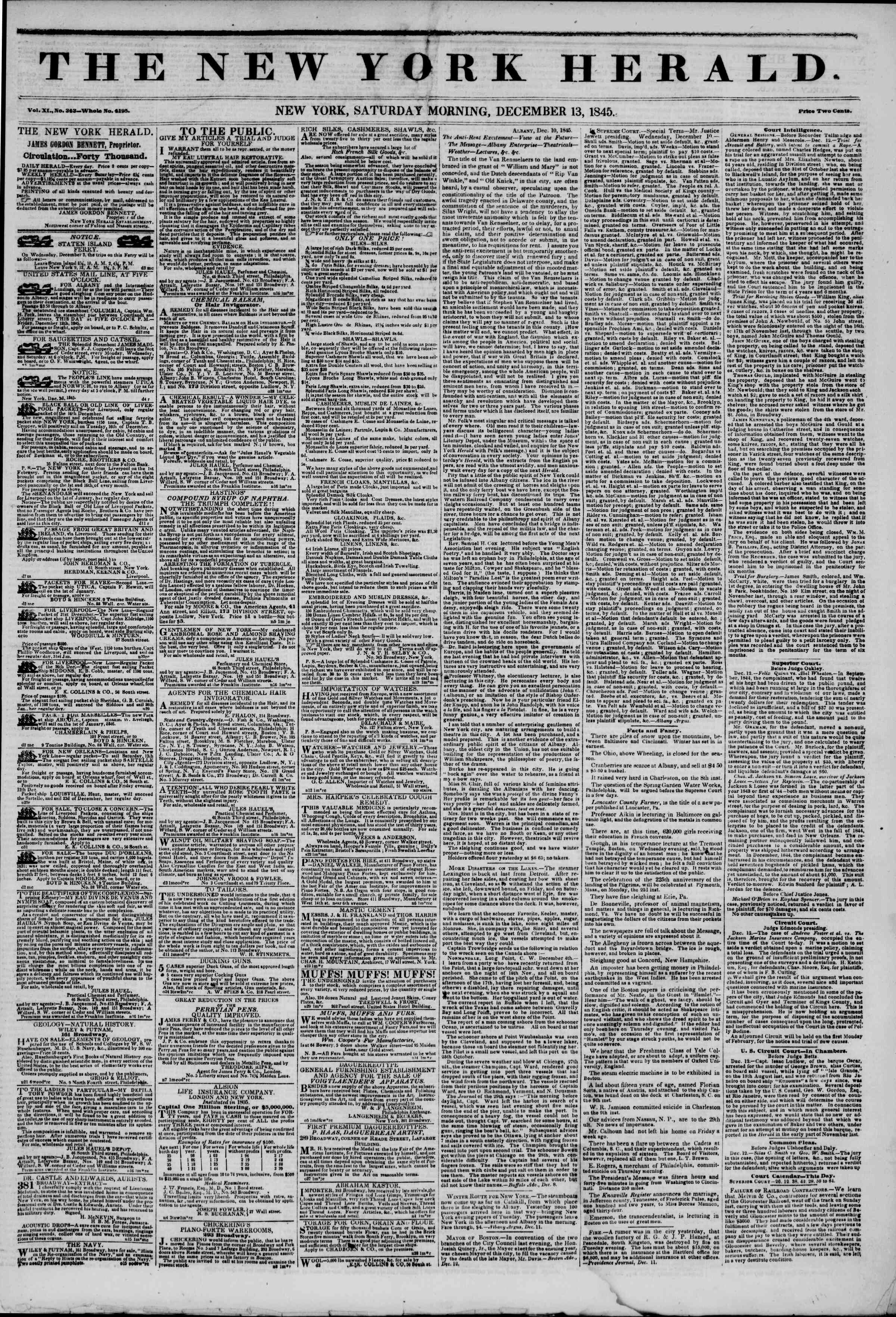 Newspaper of The New York Herald dated December 13, 1845 Page 1