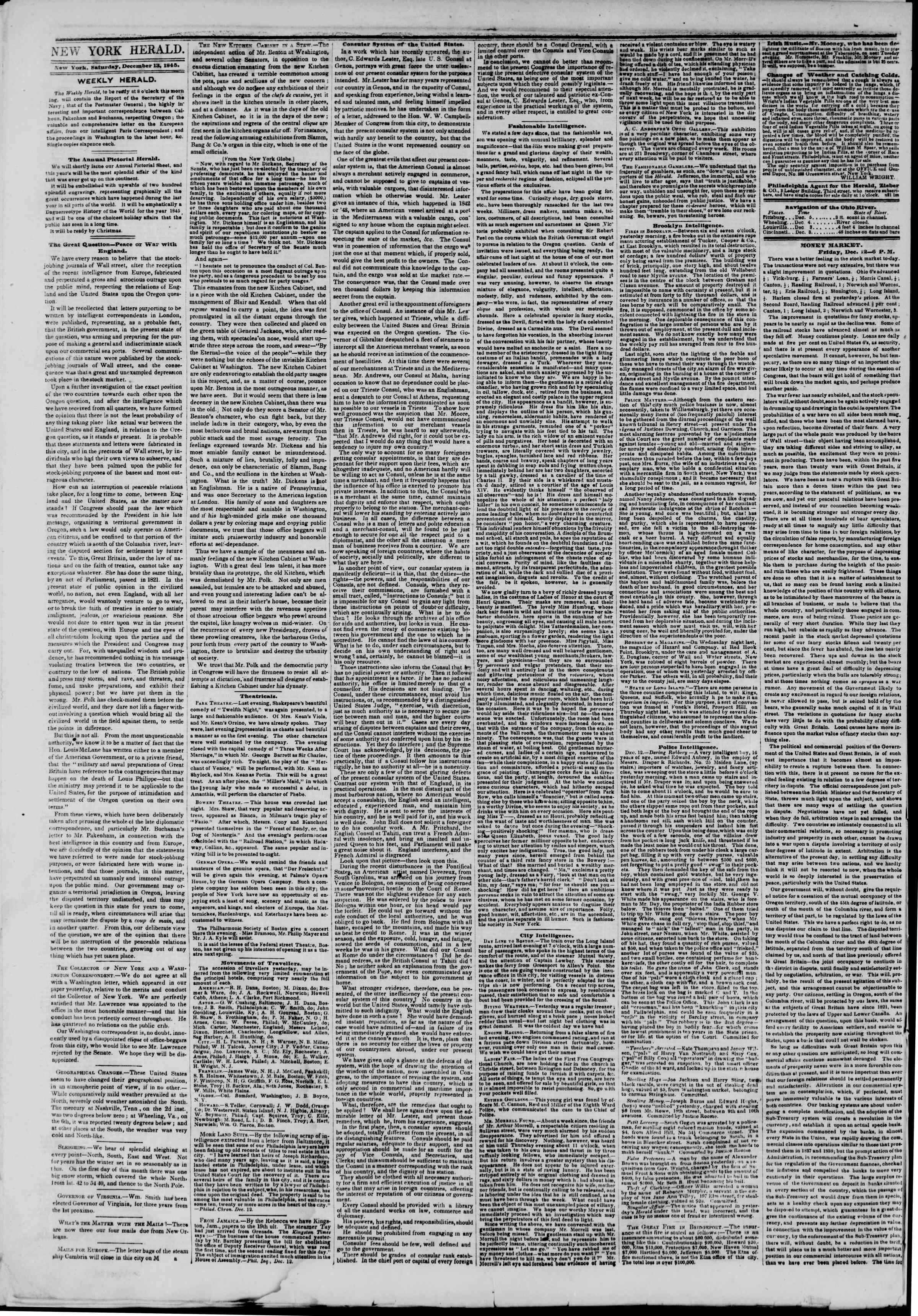 Newspaper of The New York Herald dated December 13, 1845 Page 2